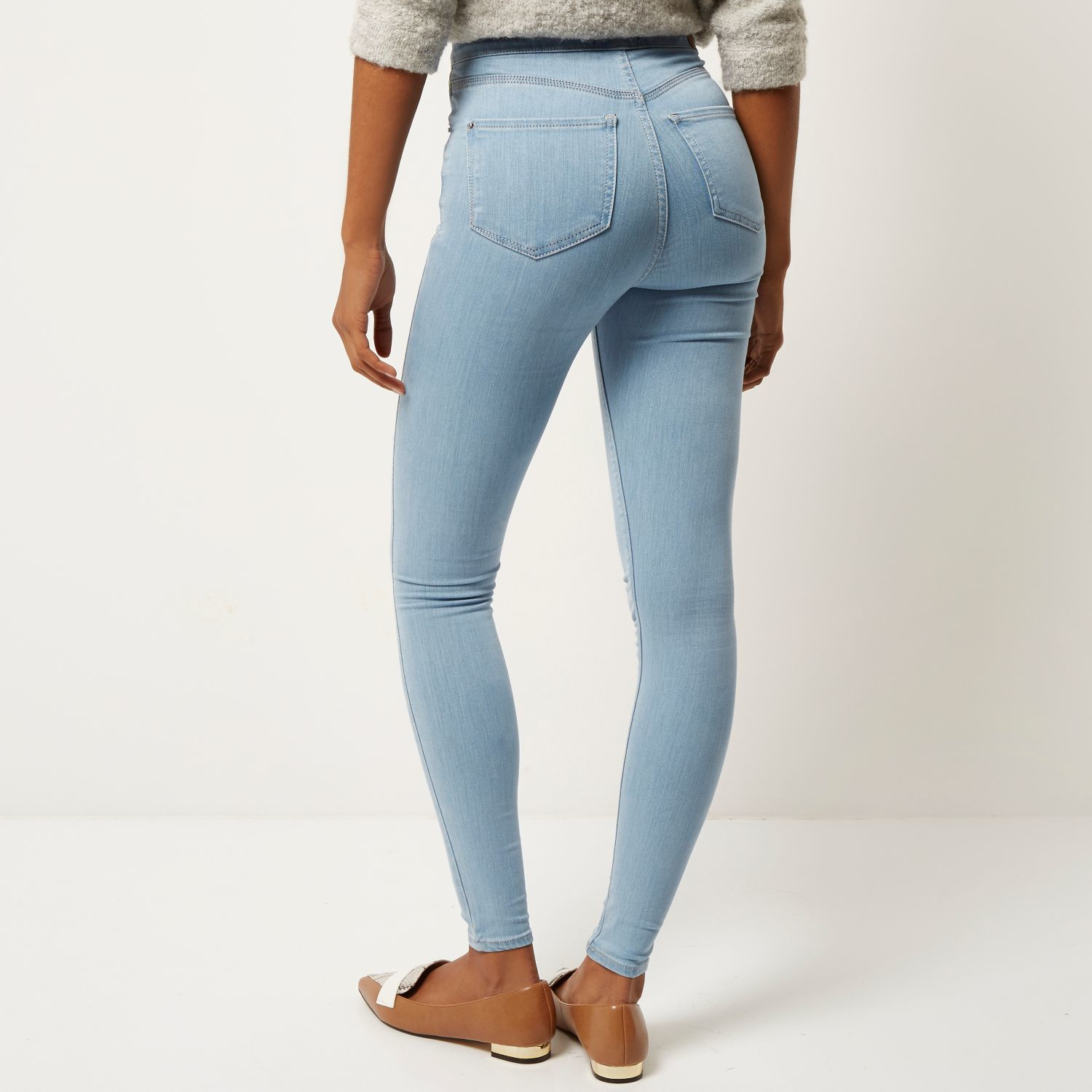 ca99c7c7fee350 River Island Light Wash High Waisted Molly Jeggings in Blue - Lyst