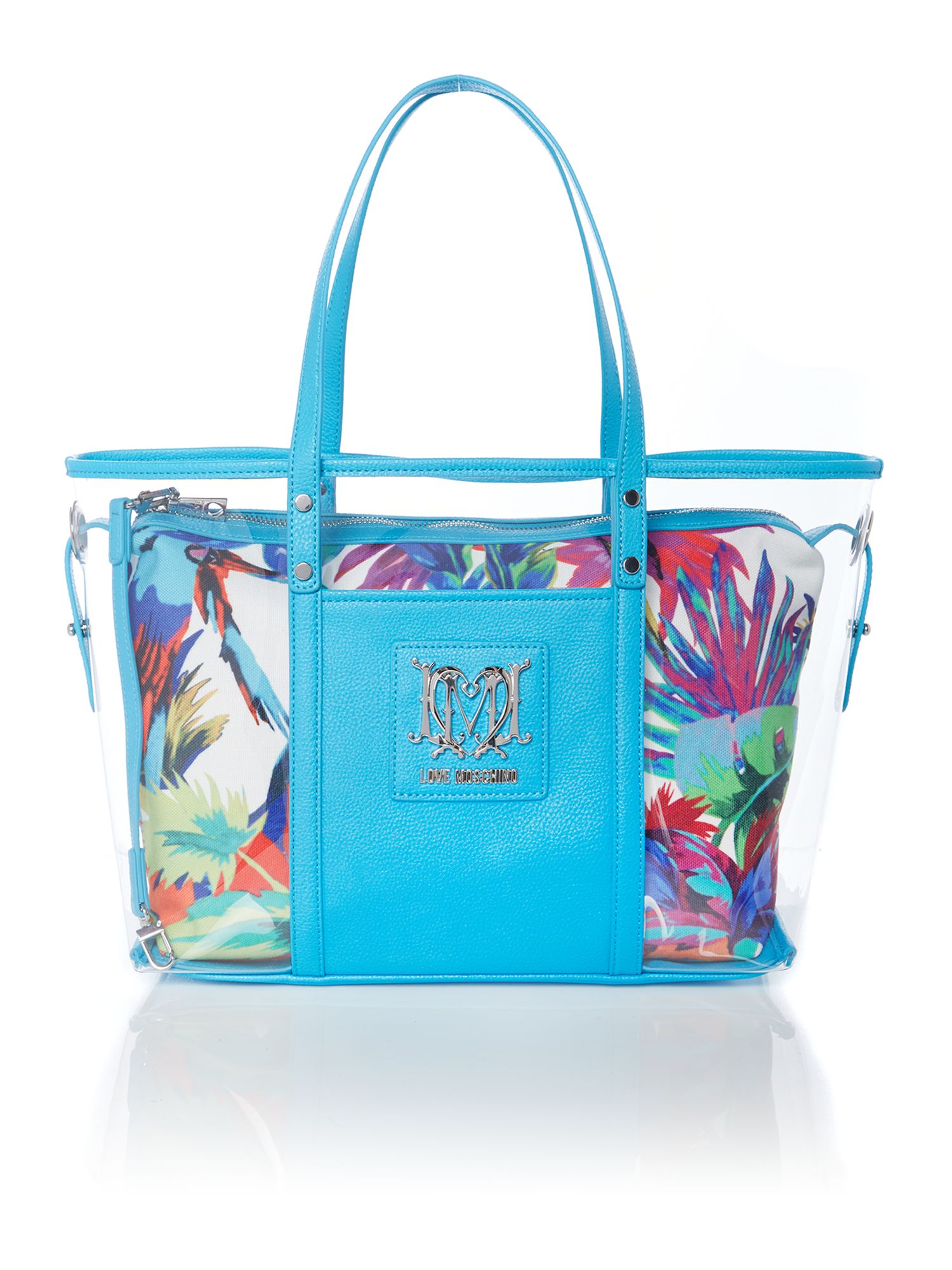 Love Moschino Multi Coloured Blue Parrot Print Double Tote Bag