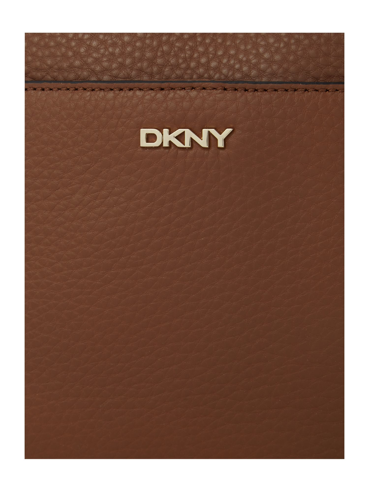 DKNY Tribeca Tan Double Zip Rounded Cross Body Bag in Brown