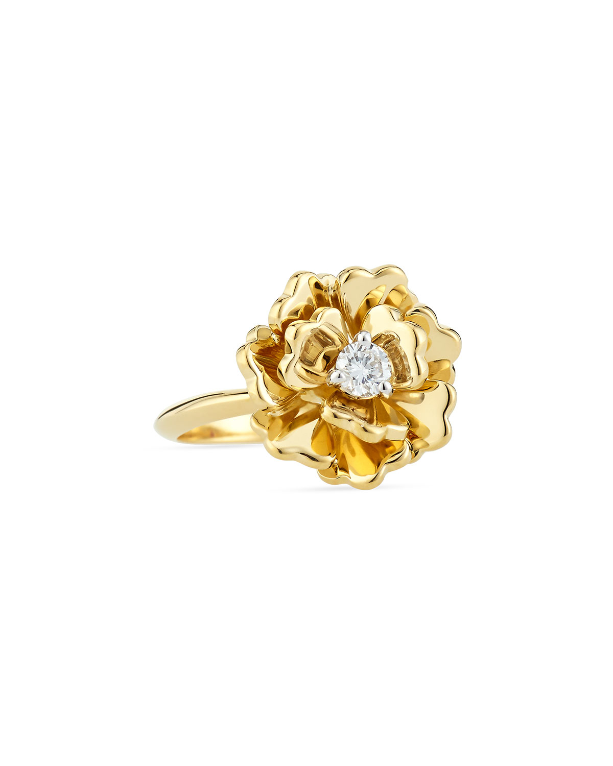 Roberto coin Diamond & Yellow Gold Flower Ring in Yellow
