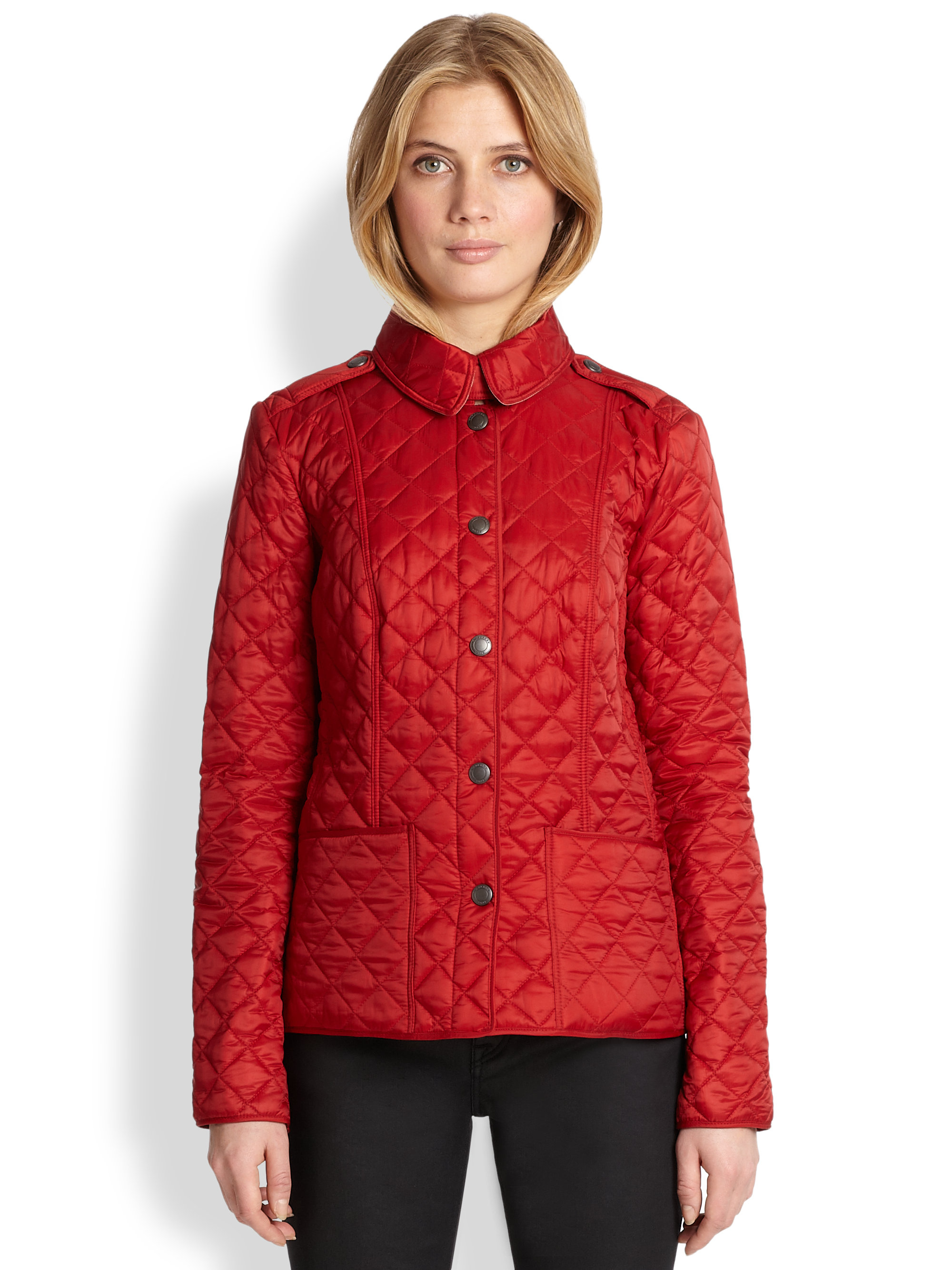 Lyst - Burberry brit Kencott Quilted Jacket in Red : red burberry quilted jacket - Adamdwight.com