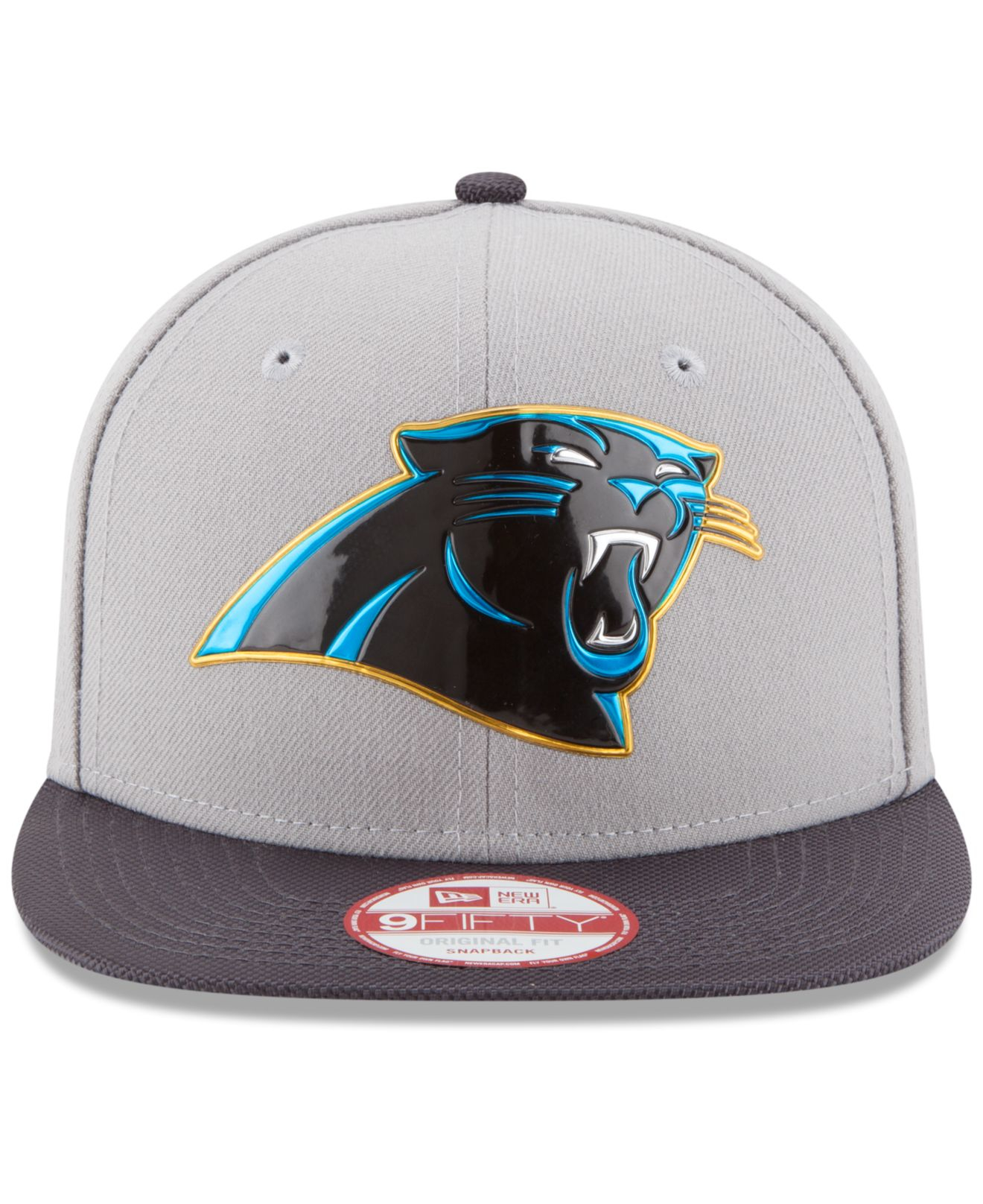 premium selection bf579 a9cba KTZ Carolina Panthers Gold Collection 9fifty Snapback Cap in Gray ...