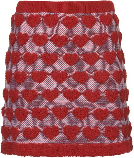 Topshop Plush Heart Knitted Skirt in Red Lyst