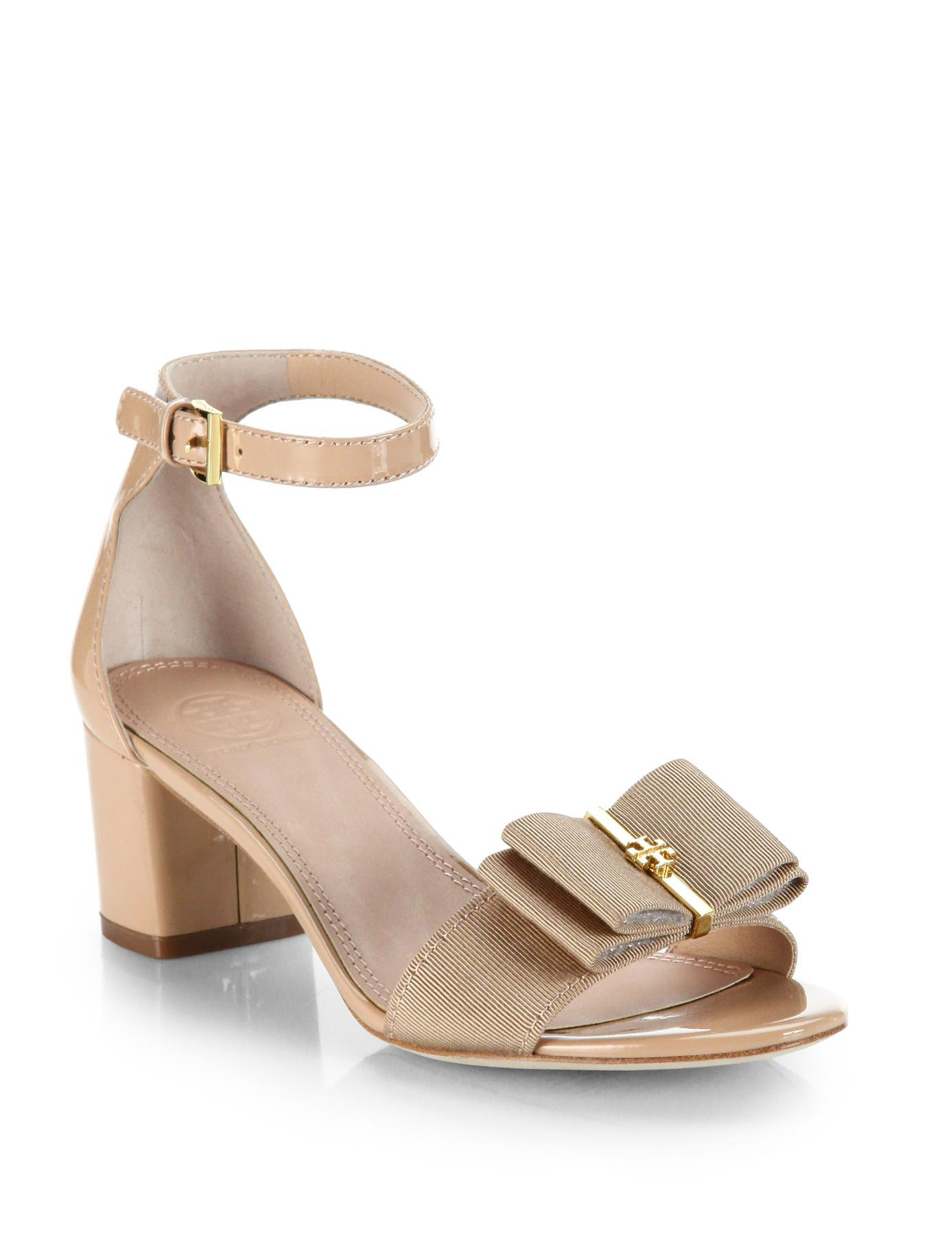 d42daeaa9e102 Lyst - Tory Burch Trudy Patent Leather Bow Sandals in Natural