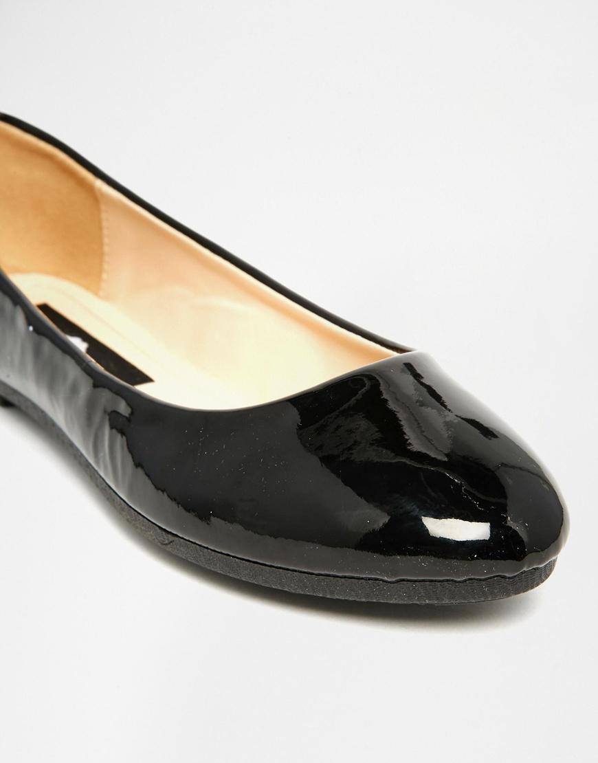 Black Patebt Flat Shoes Uk
