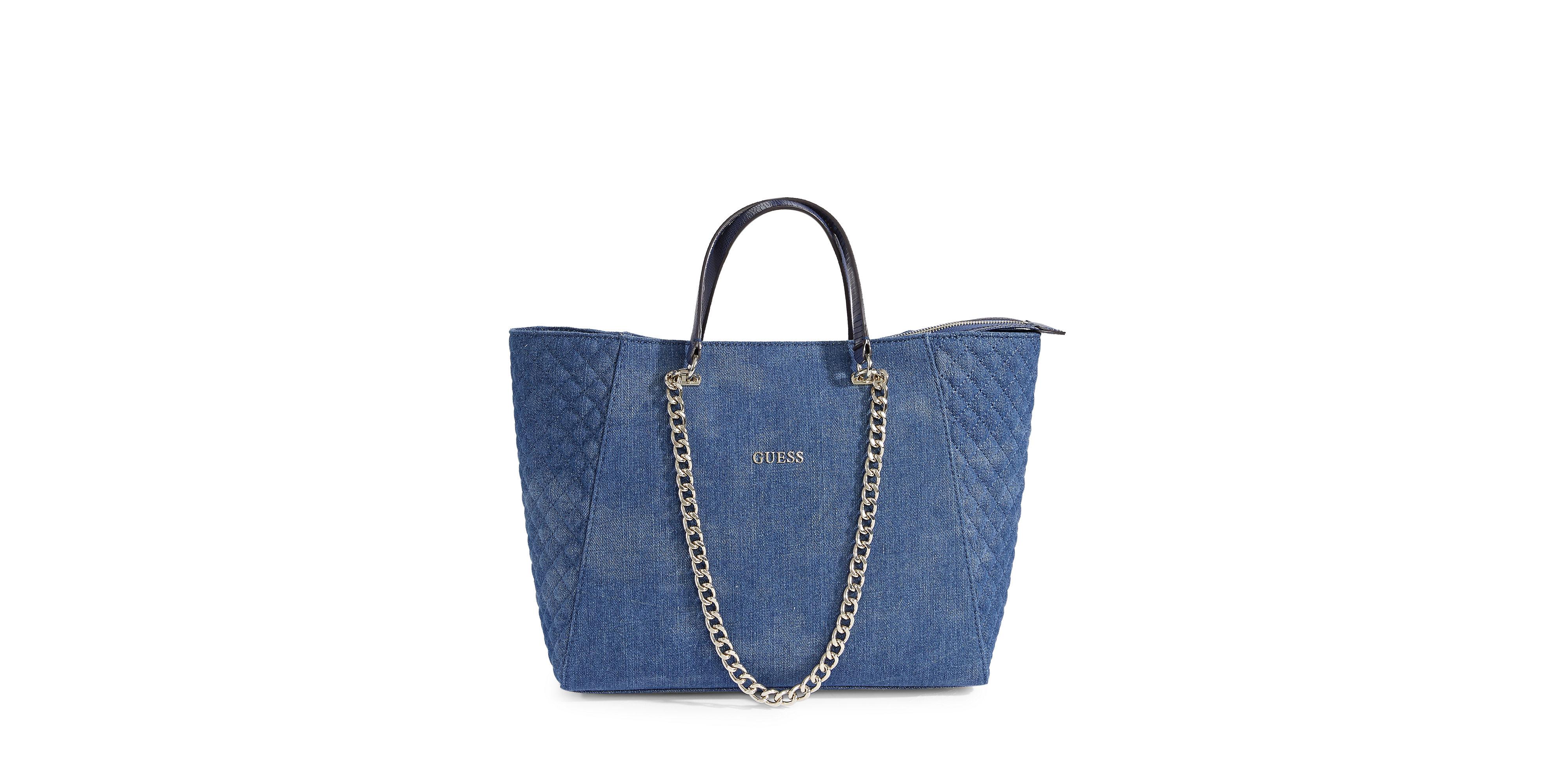 Lyst - Guess Nikki Chain Denim Tote Bag in Blue