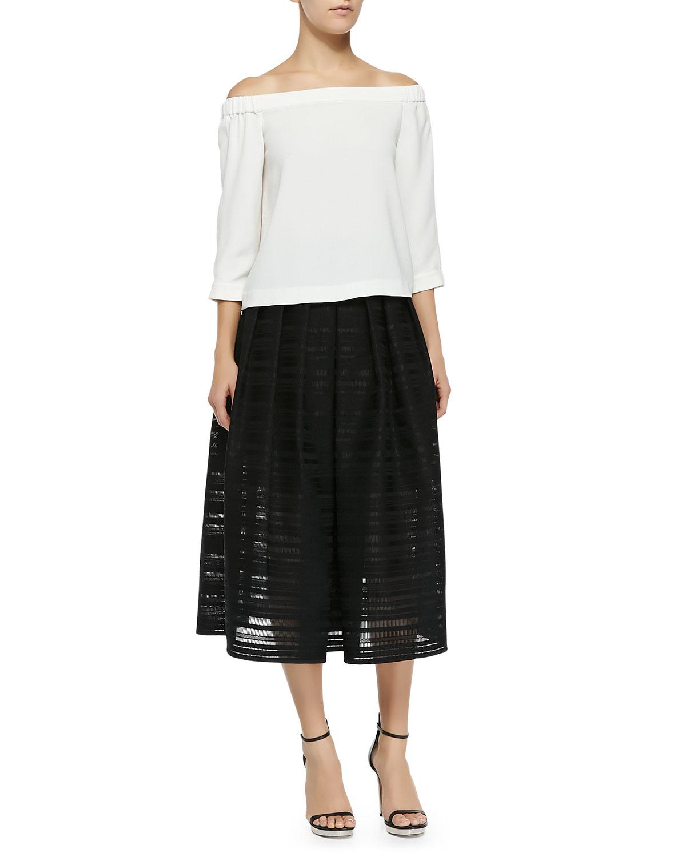 tibi ribbon organza pleated midi skirt in black lyst