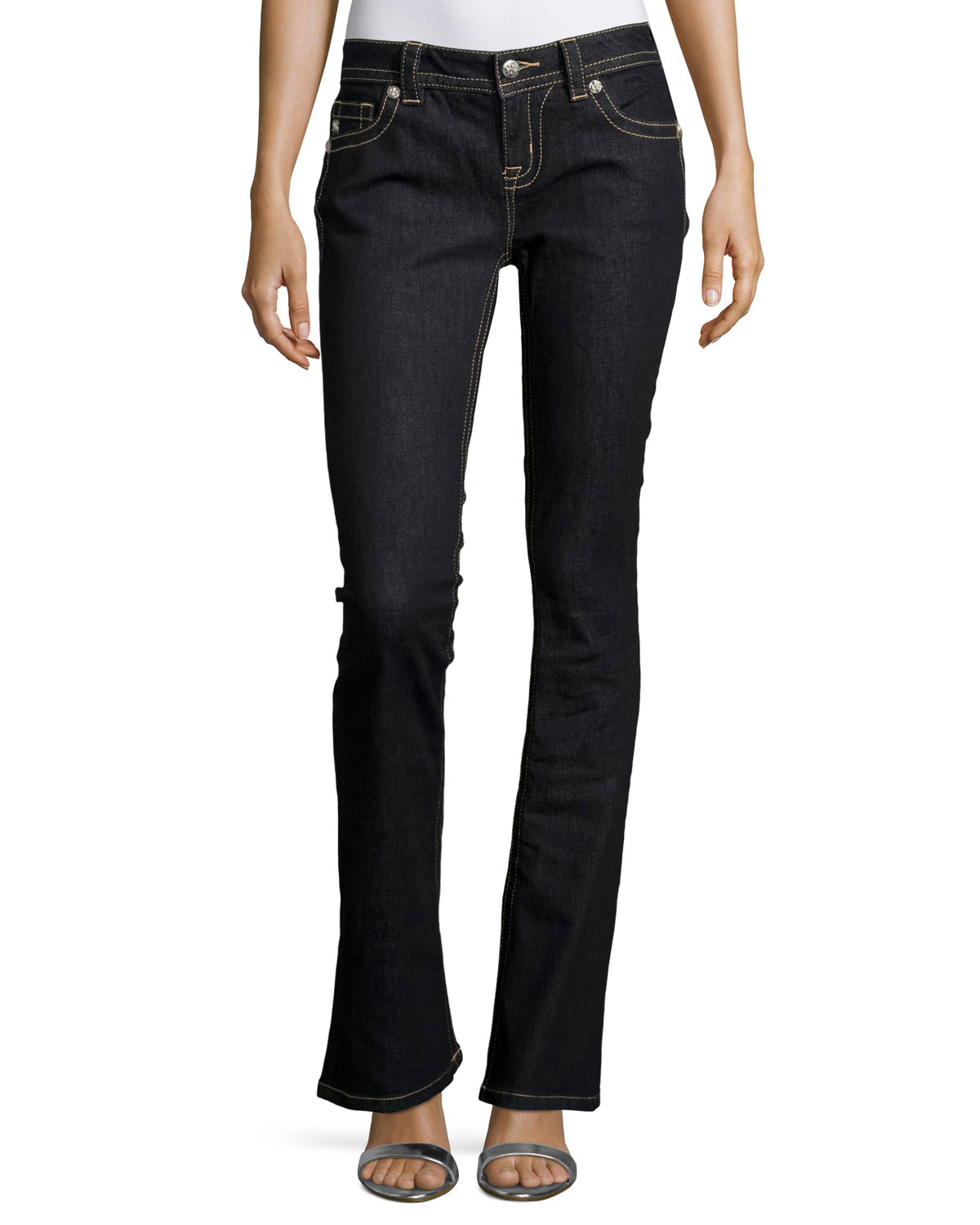 miss me mid rise boot cut jeans in black lyst. Black Bedroom Furniture Sets. Home Design Ideas