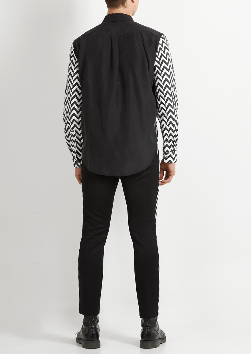 House Of Holland Zig Zag Shirt In Black Lyst