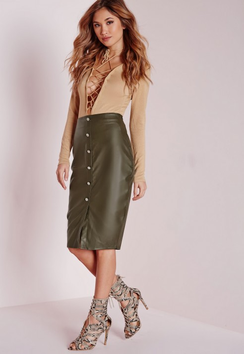 Missguided Button Front Faux Leather Midi Skirt Khaki in Green | Lyst