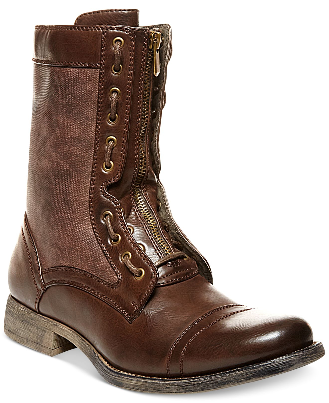 steve madden madden archer cap toe boots in brown for