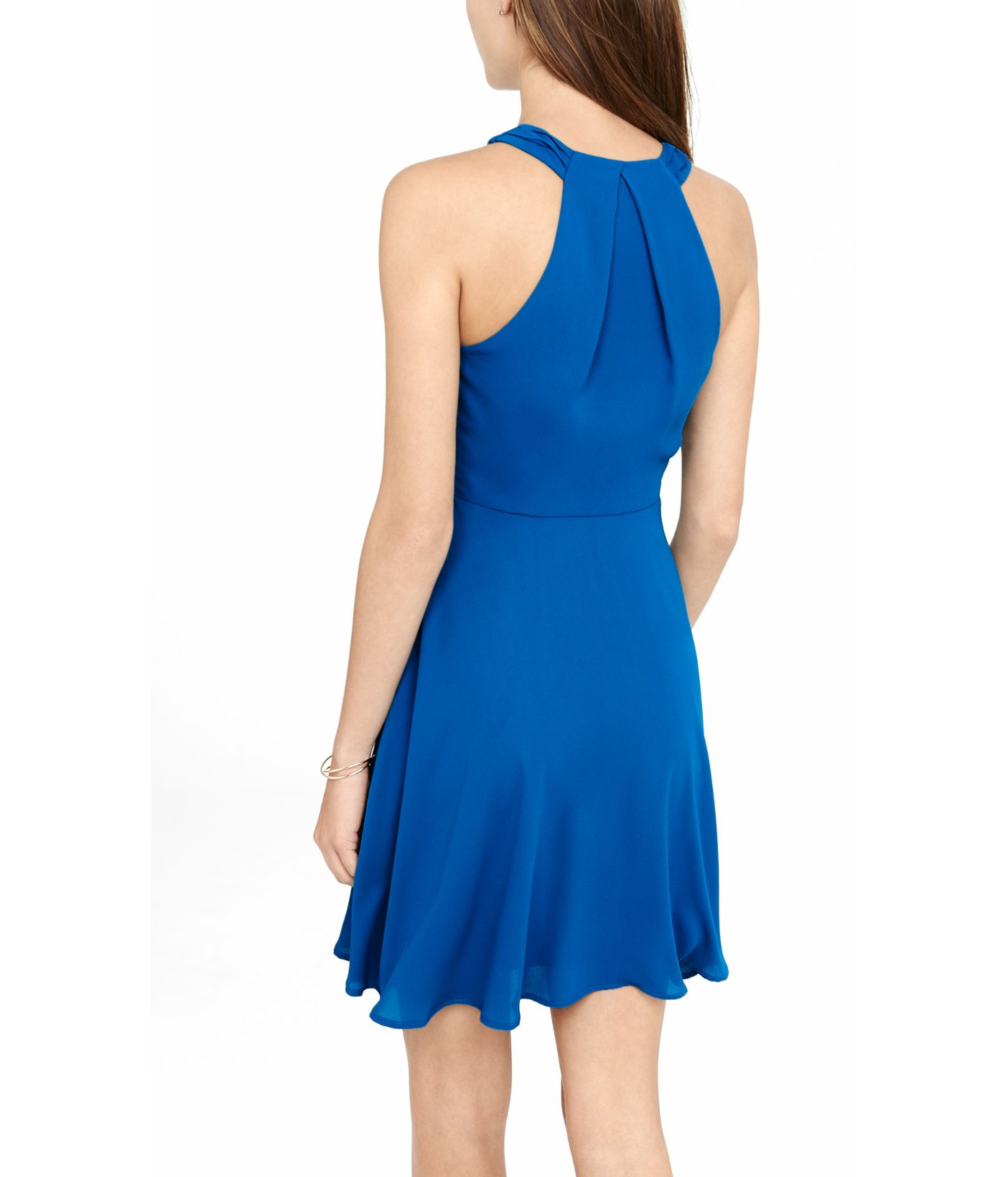 Express Blue Surplice Halter Fit And Flare Dress In Blue