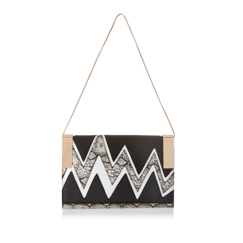 river island black zig zag clutch handbag in beige black. Black Bedroom Furniture Sets. Home Design Ideas