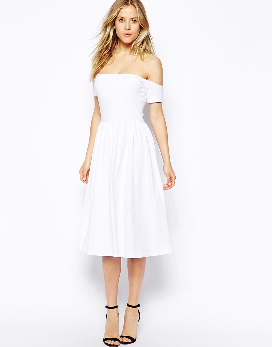 White skater midi dress