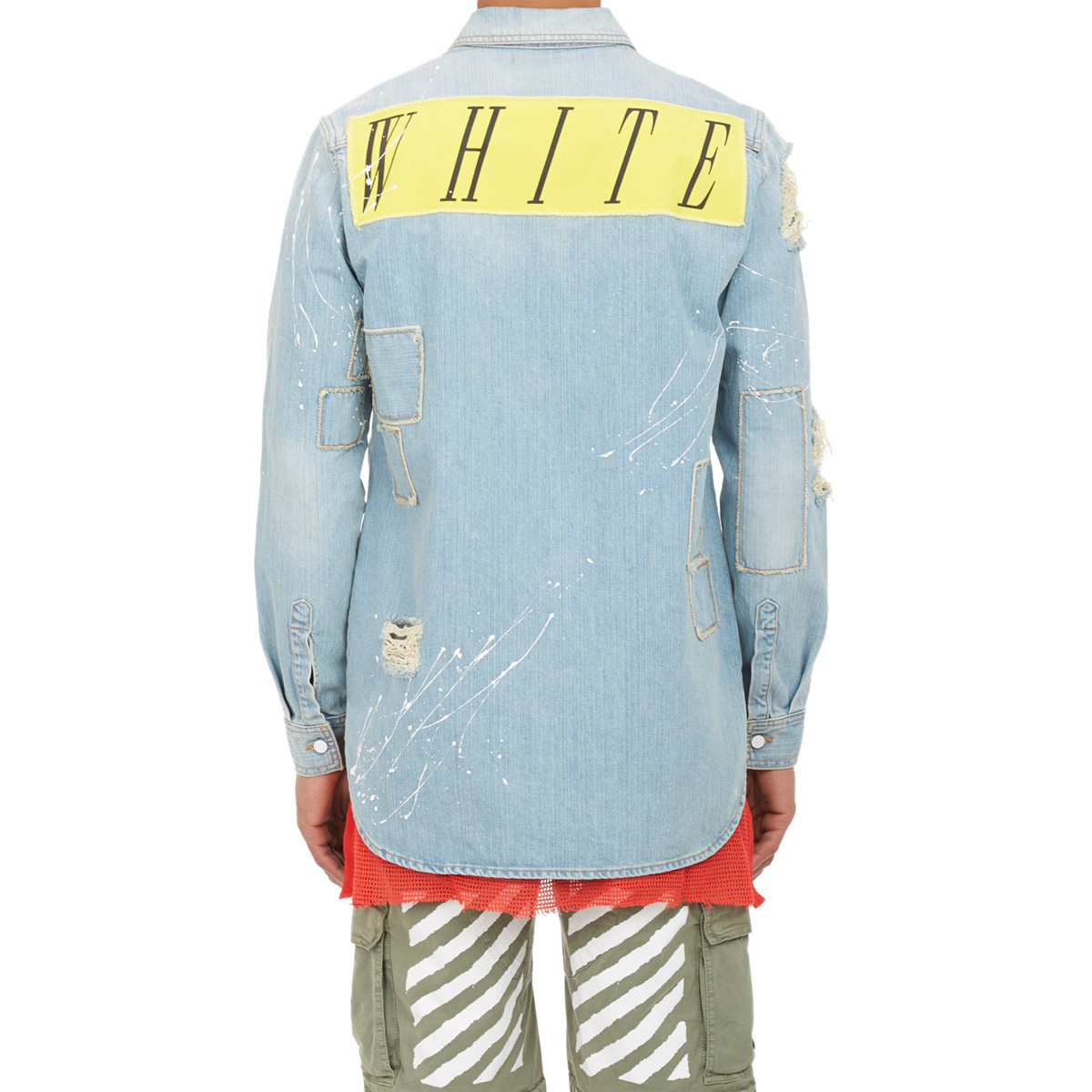 Off White C O Virgil Abloh Distressed Denim Shirt Jacket