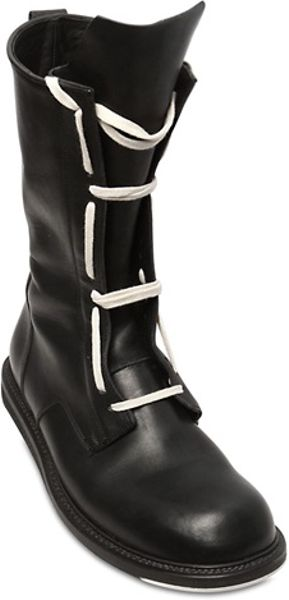 Rick Owens Runway Army Leather High Boots In Black For Men