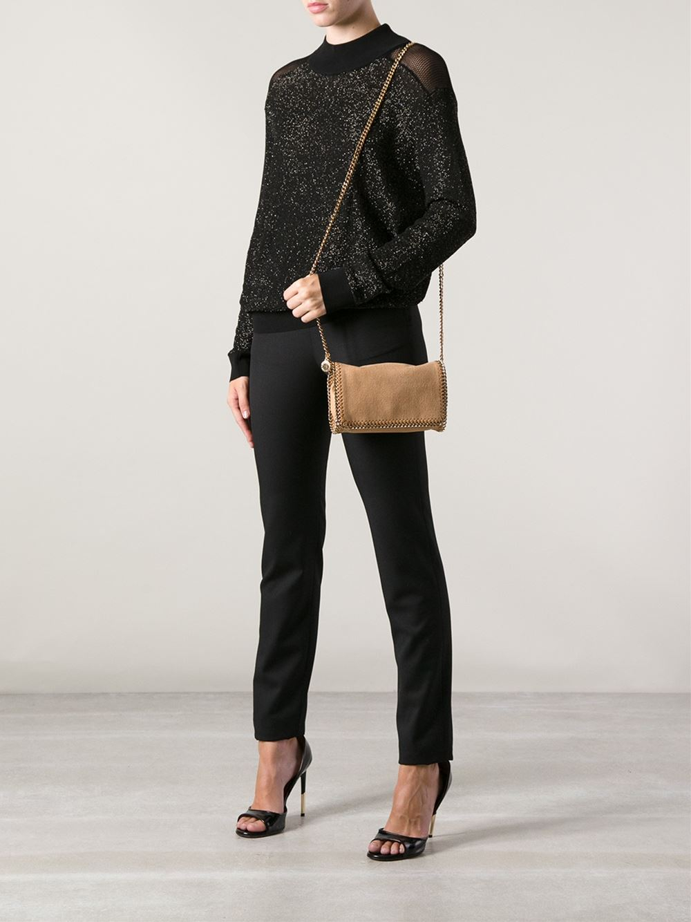 lyst stella mccartney falabella small shoulder bag in natural. Black Bedroom Furniture Sets. Home Design Ideas