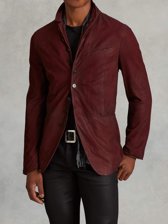 Lyst John Varvatos Goat Suede Cutaway Jacket In Red For Men