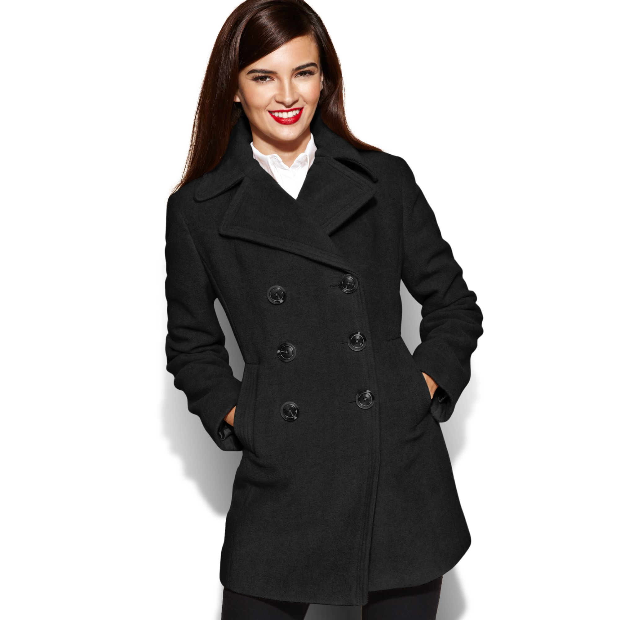 ae6cdc571c9 Kenneth Cole Reaction Double breasted Wool-blend Pea Coat in Black ...