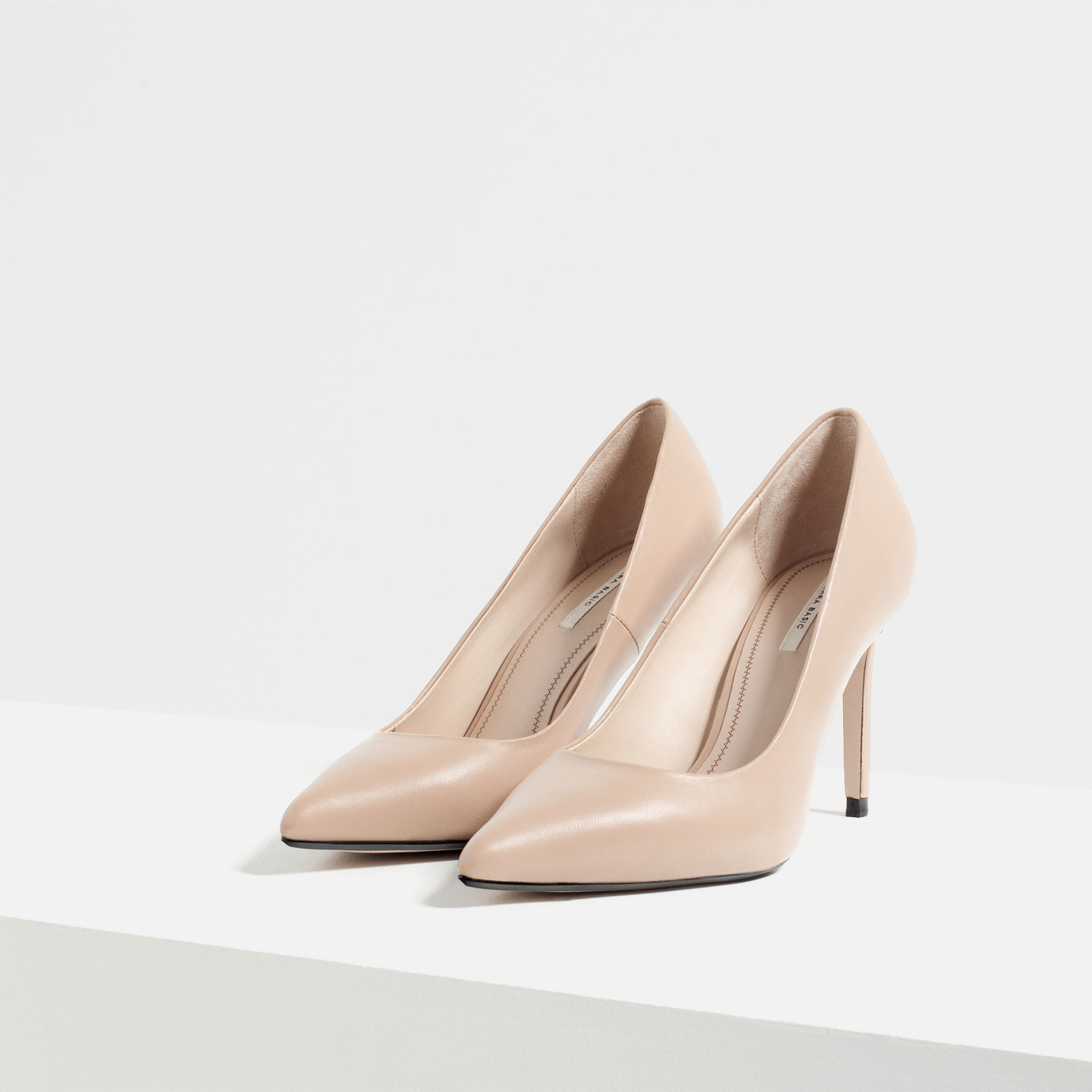 zara leather high heel shoes in lyst