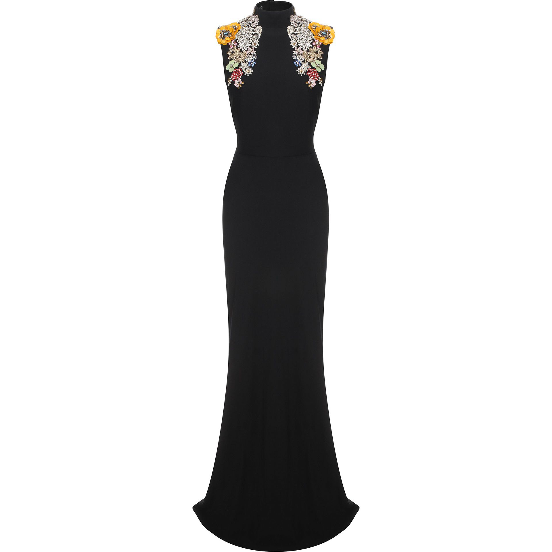 Alexander Mcqueen Embroidered Open Back Dress in Black - Lyst