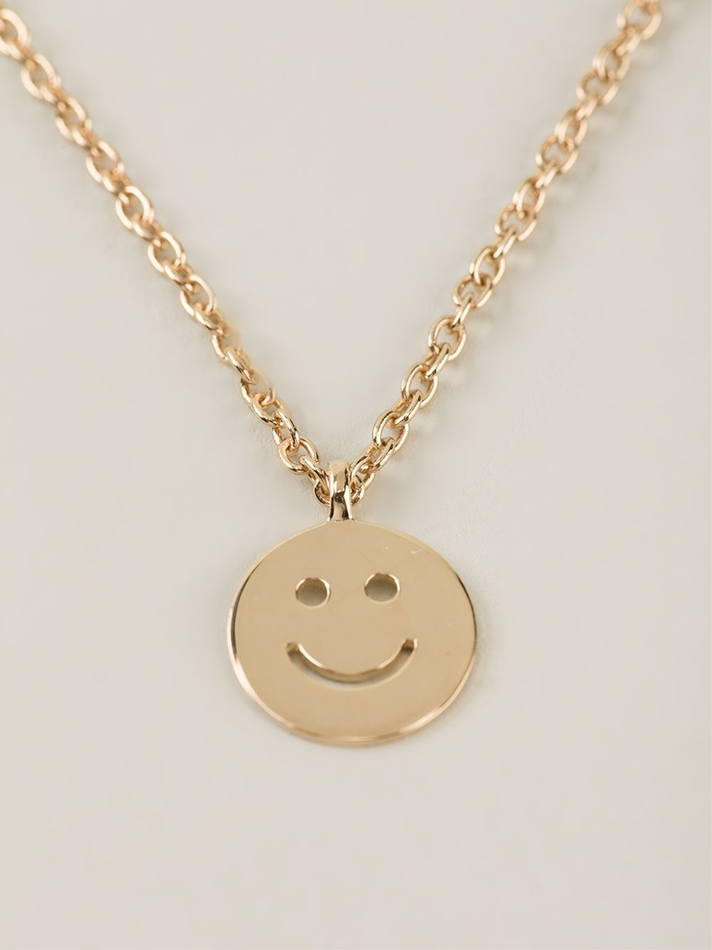 A.P.C. Smiley Face Necklace in Metallic