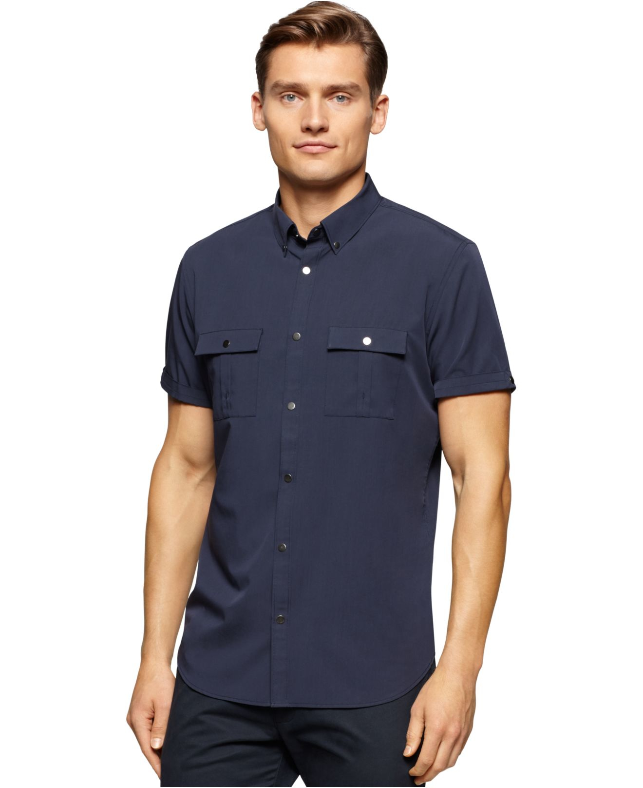 Calvin klein men 39 s two pocket short sleeve shirt in blue for Mens two pocket short sleeve shirts