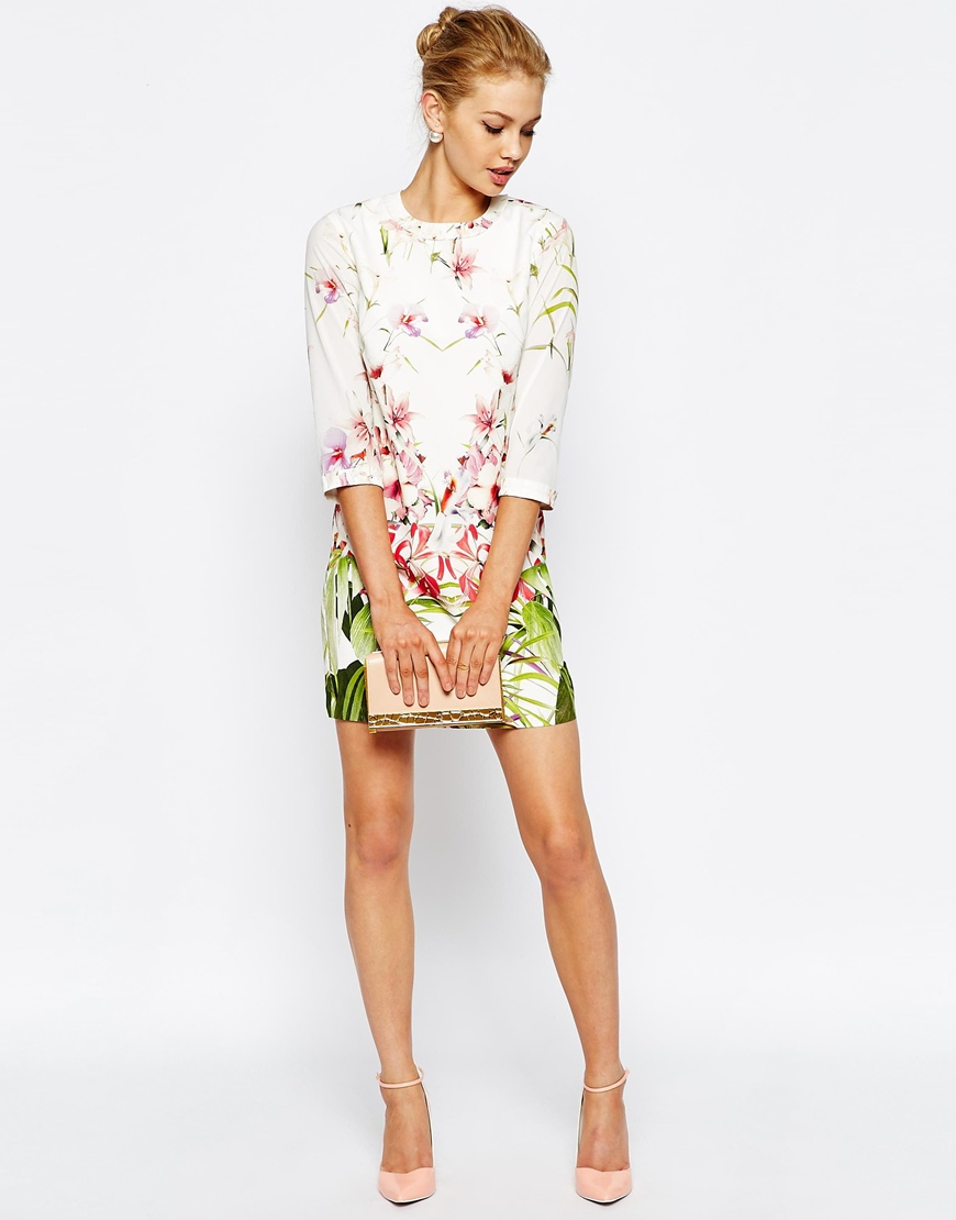 49ca1a069 Lyst - Ted Baker Tunic Dress In Mirrored Tropical Print in White
