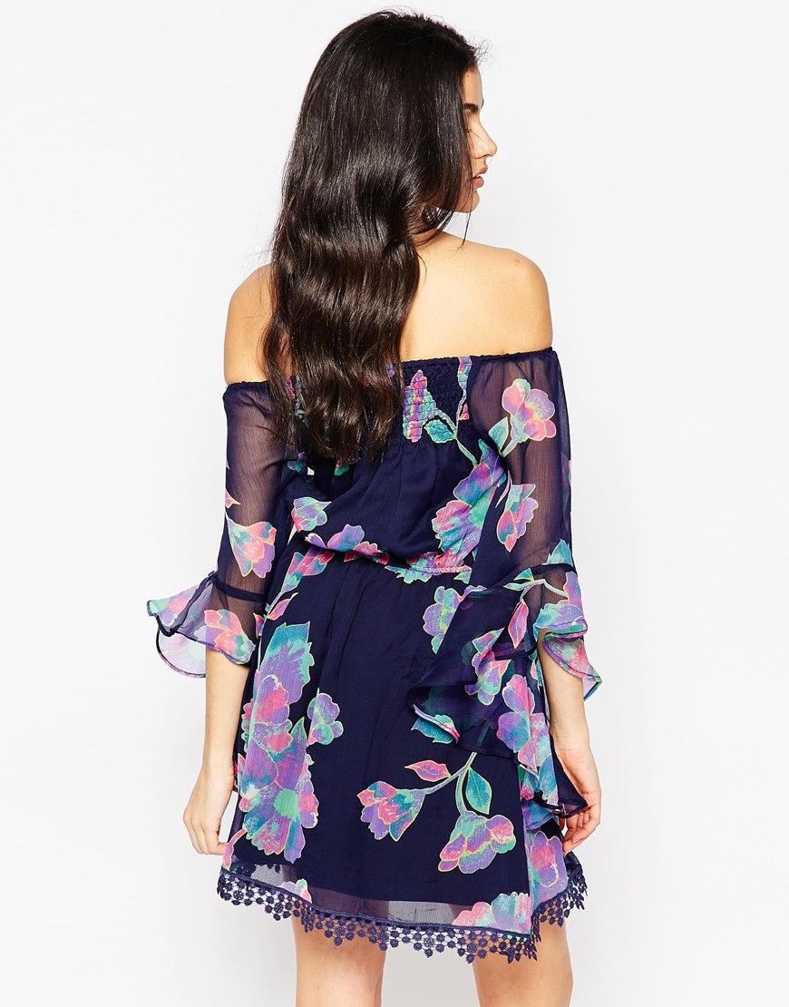 9207f4071b87 Lyst - AX Paris X Paris Off Shoulder Floral Dress With Fluted ...