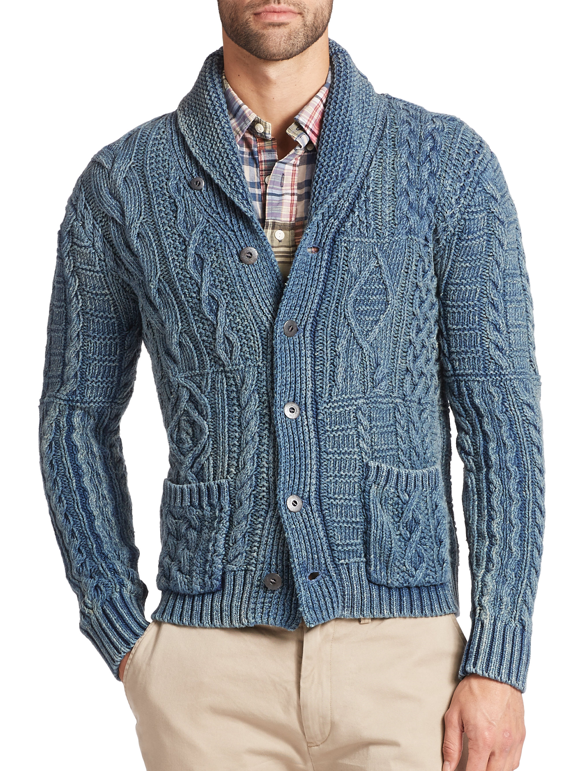 Lyst Polo Ralph Lauren Cable Knit Shawl Cardigan In Green For Men