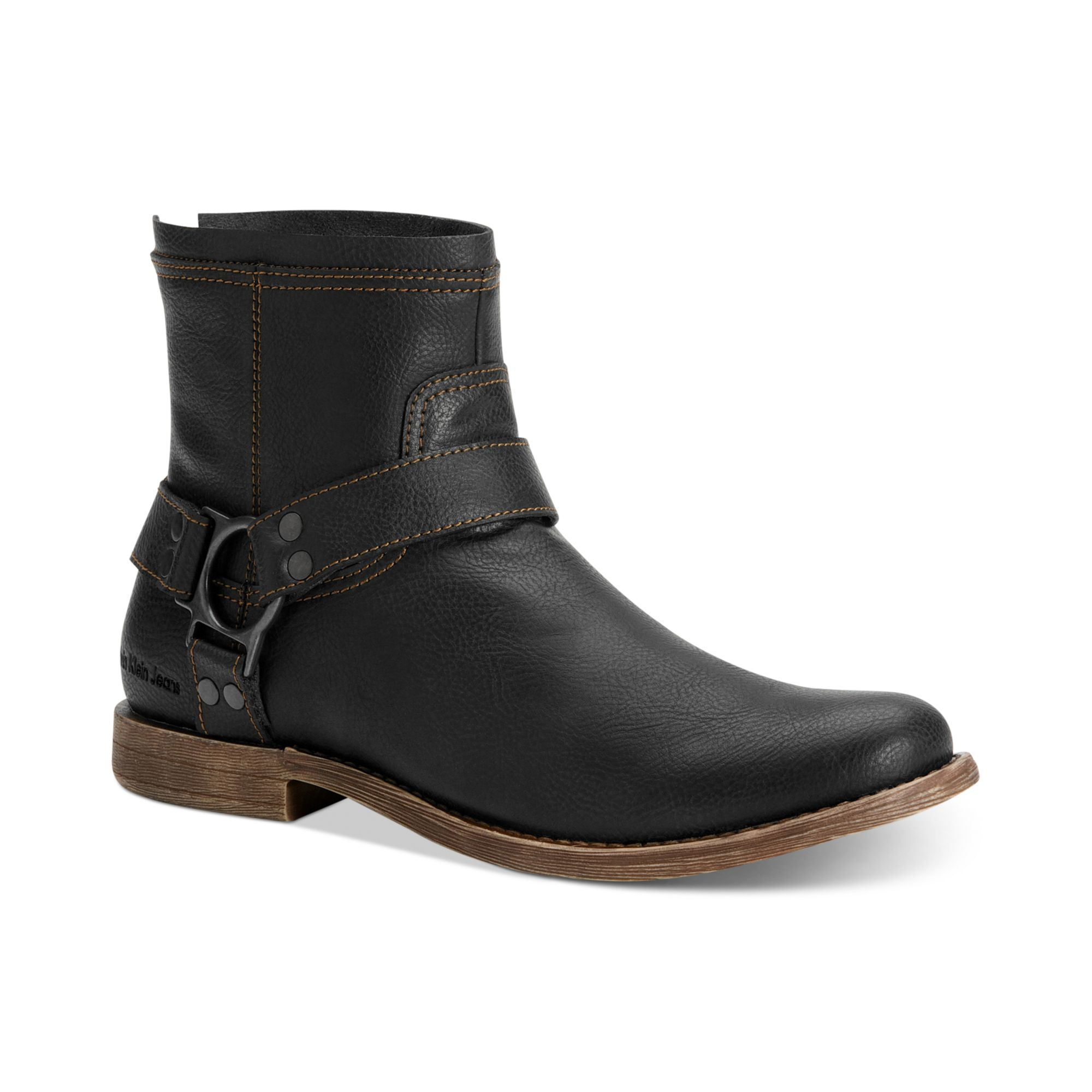 Calvin klein jeans Palmer Leather Harness Boots in Black ...