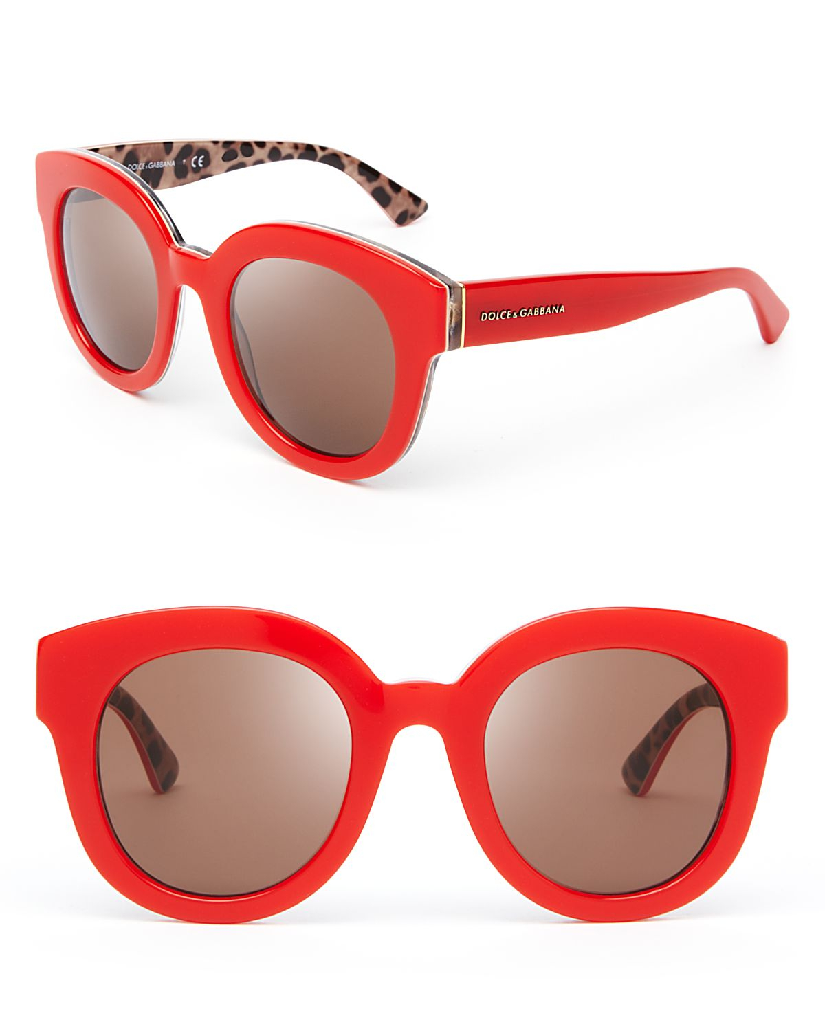 Dolce And Gabbana Red Sunglasses  dolce gabbana dolce gabbana animalier oversized round sunglasses