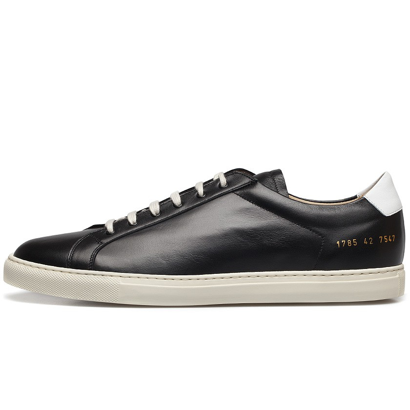 common projects black white retro leather achilles low sneakers in black for men lyst. Black Bedroom Furniture Sets. Home Design Ideas