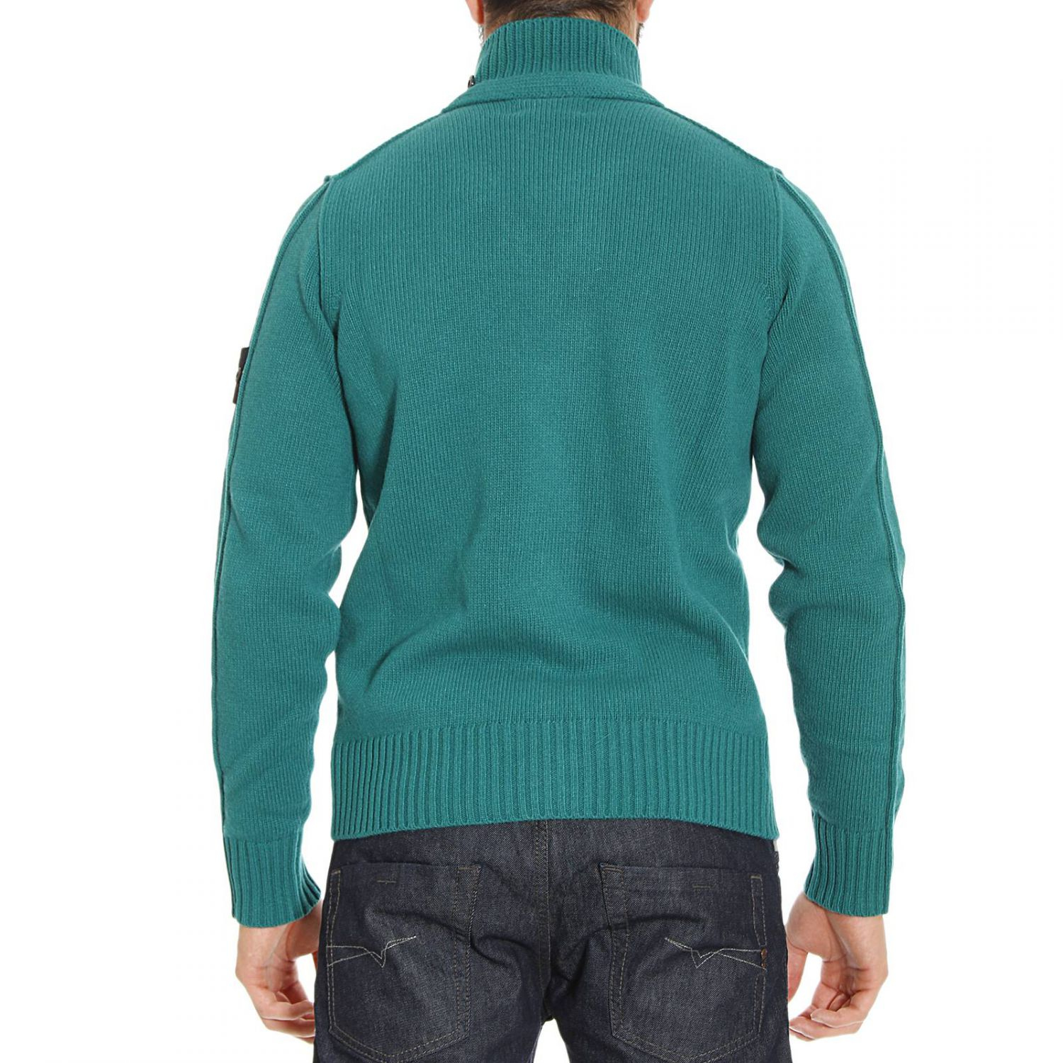 stone island sweater lambswool cardigan zip and button in green for men lyst. Black Bedroom Furniture Sets. Home Design Ideas