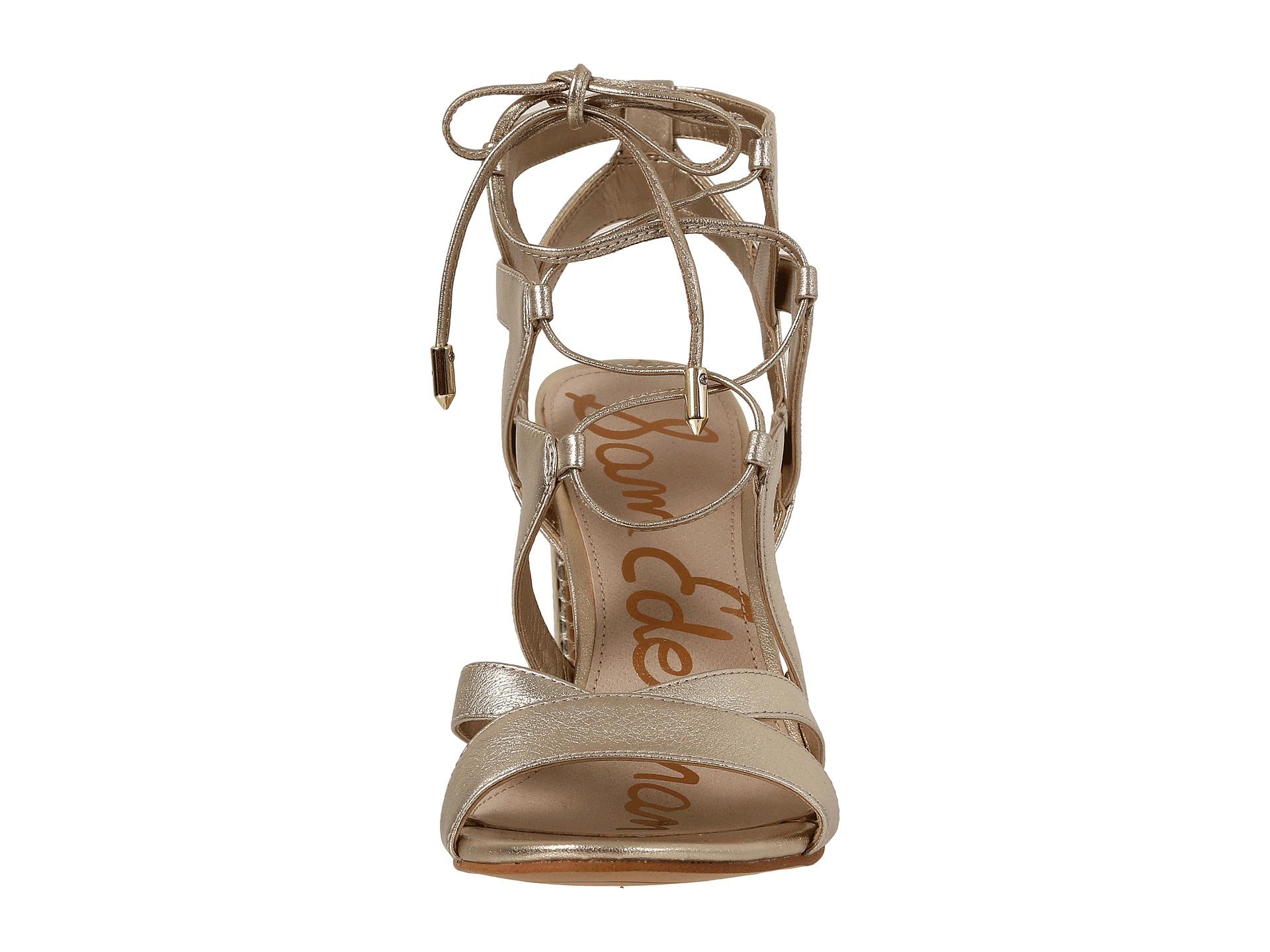 1848127de Lyst - Sam Edelman Yardley Metallic Cut-Out Leather Sandals in Metallic