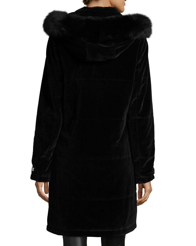 Jane Post Hooded Fur Trim Velvet Coat In Black Lyst