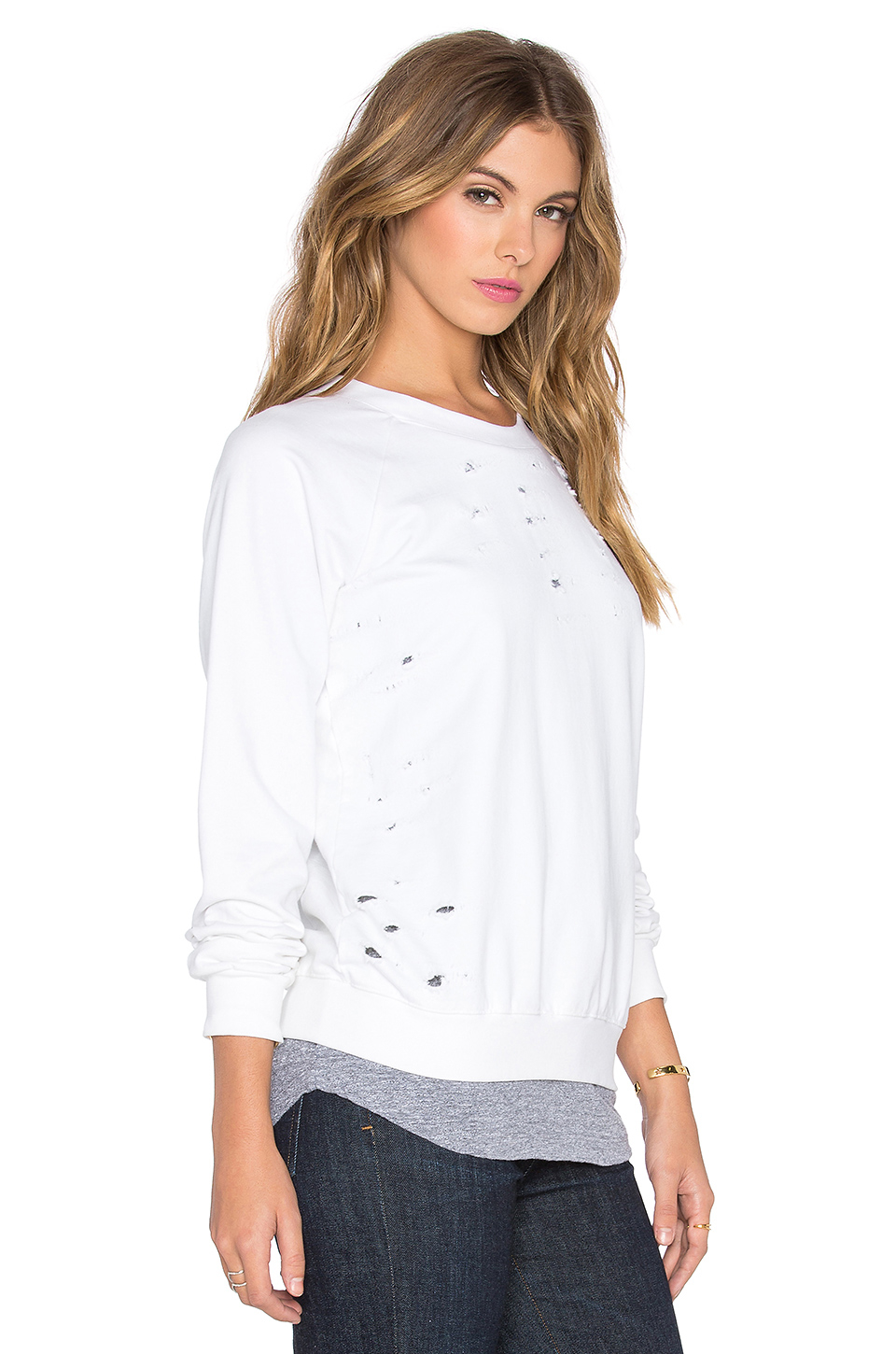 Lyst Monrow Distressed Double Layer Sweatshirt In White