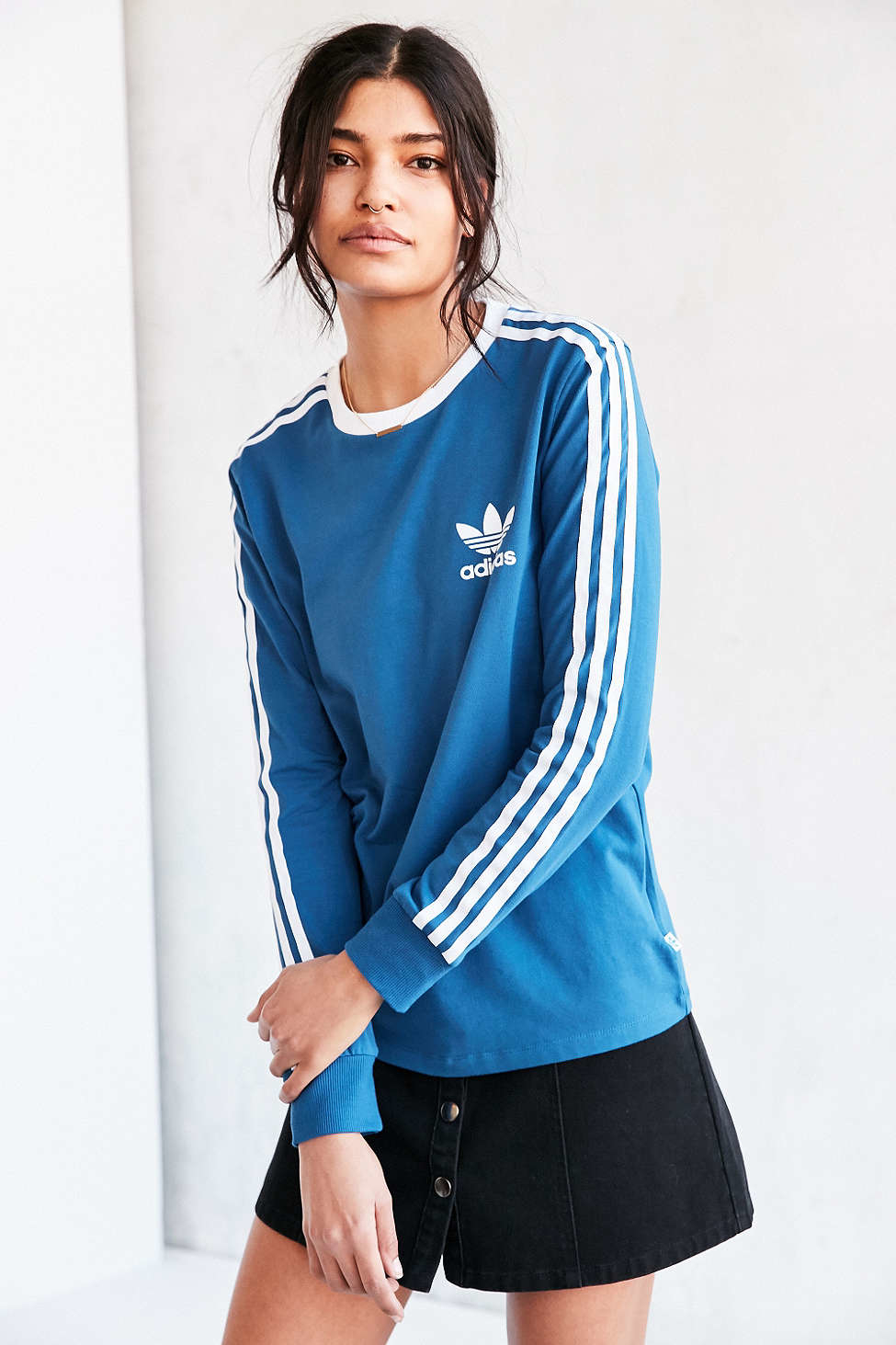 ad2b98d523 adidas Originals Originals 3 Stripes Long-sleeve Tee in Blue - Lyst