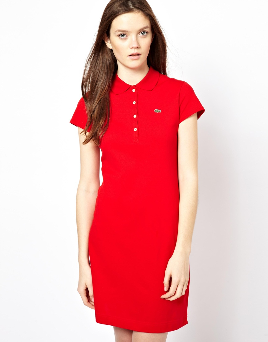 Perfect Lacoste Stretch Polo Dress In Blue  Lyst
