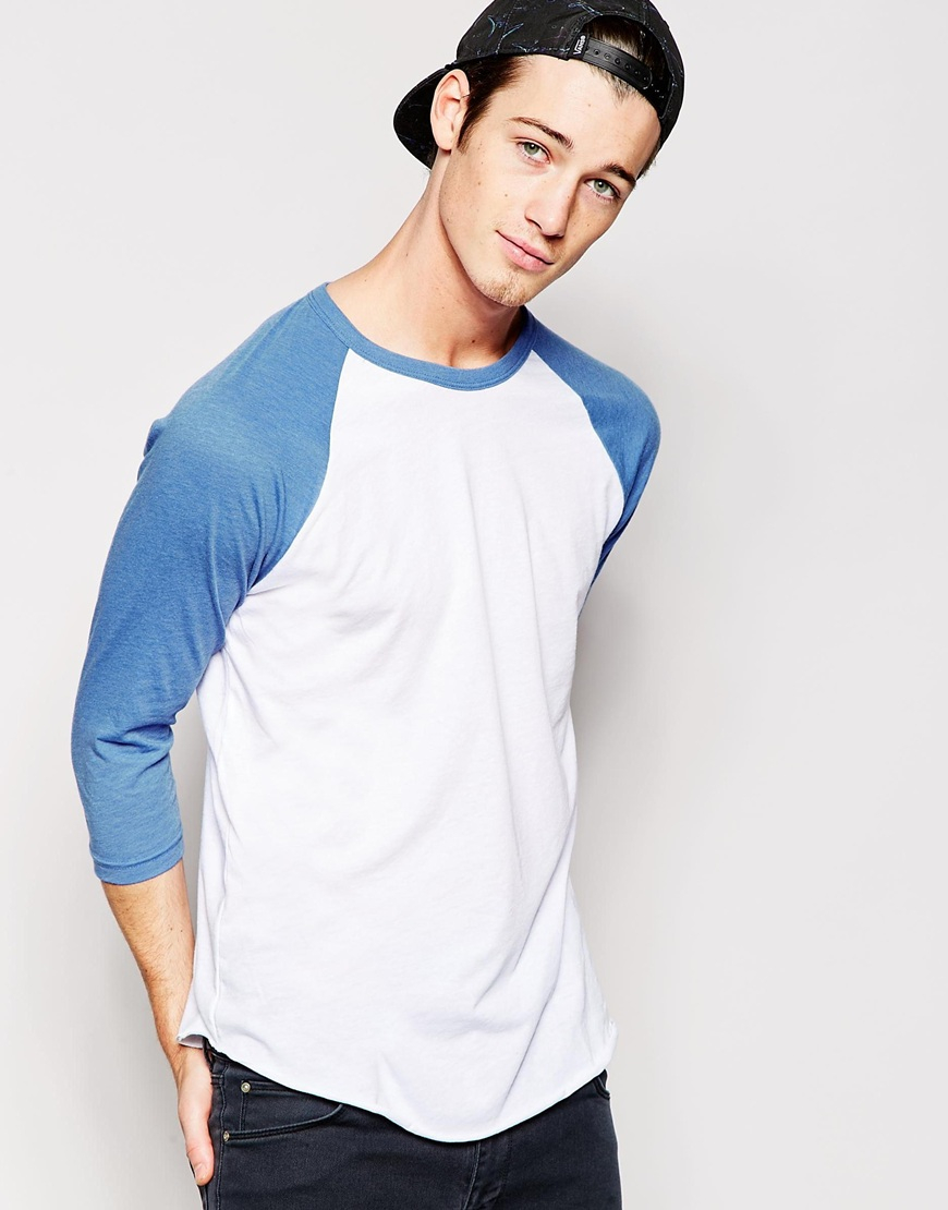 American Apparel 3 4 Sleeve Raglan T Shirt In Blue For Men