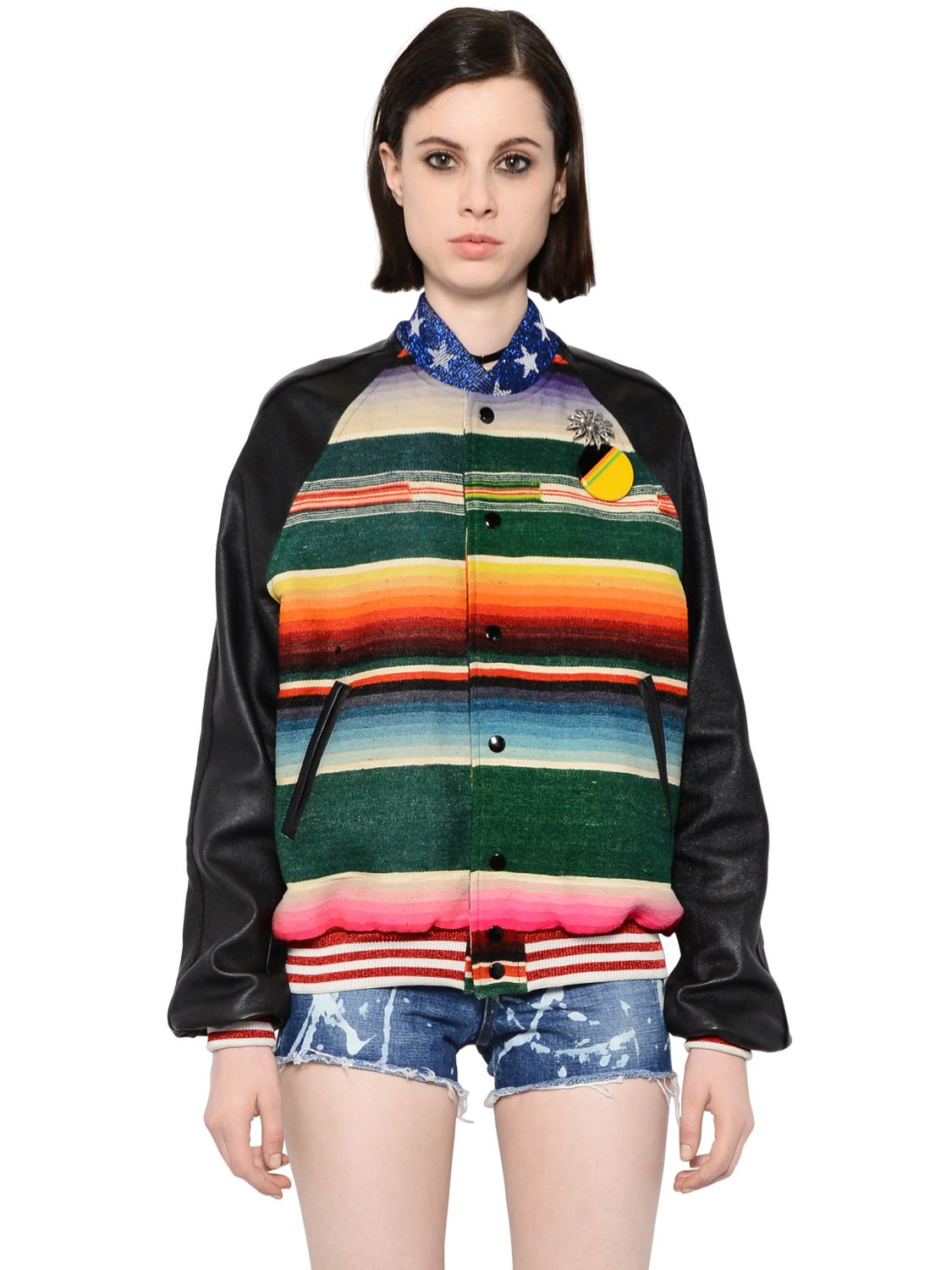 Saint laurent T-rex Tapestry \u0026amp; Leather Teddy Jacket in Multicolor ...
