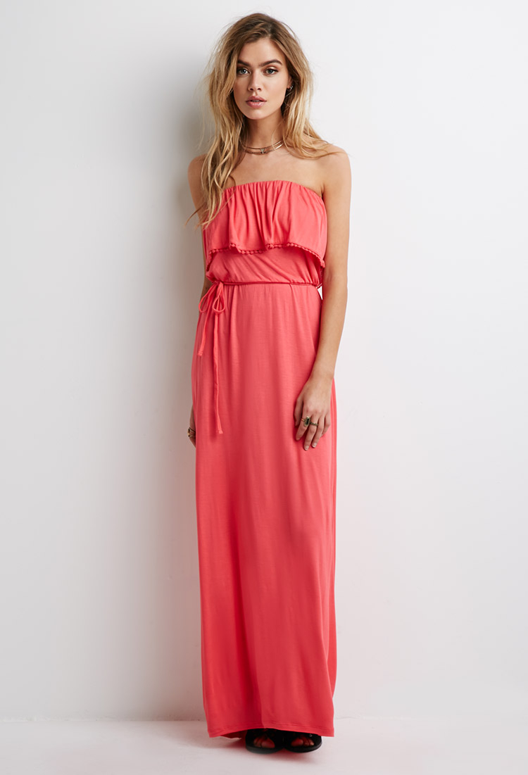 240924a81b2a Forever 21 Strapless Flounce Maxi Dress in Pink - Lyst