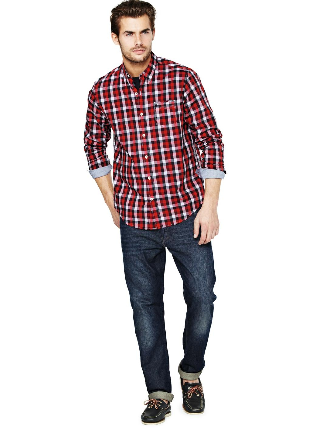 Timberland mens long sleeve plaid shirt in black for men for Mens plaid shirts long sleeve