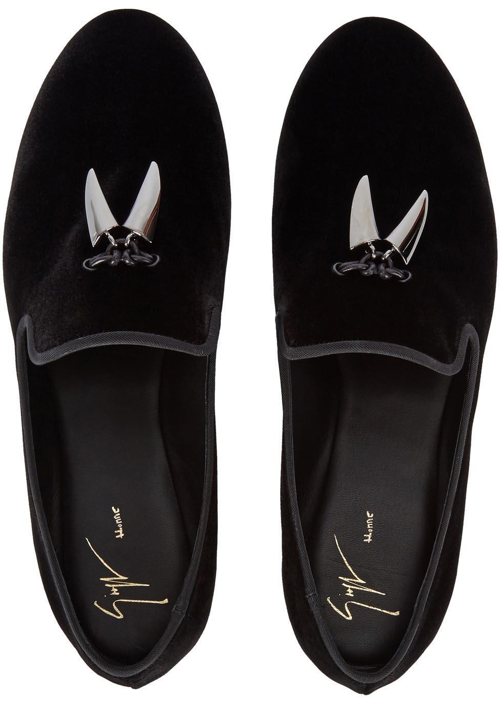 Giuseppe Zanotti Kevin Black Velvet Loafers for Men