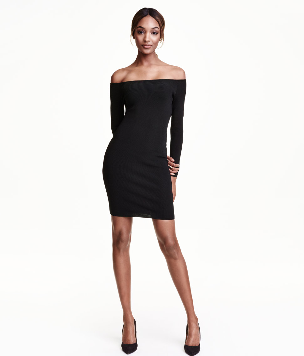 d02009b3284 H M Ribbed Off-the-shoulder Dress in Black - Lyst