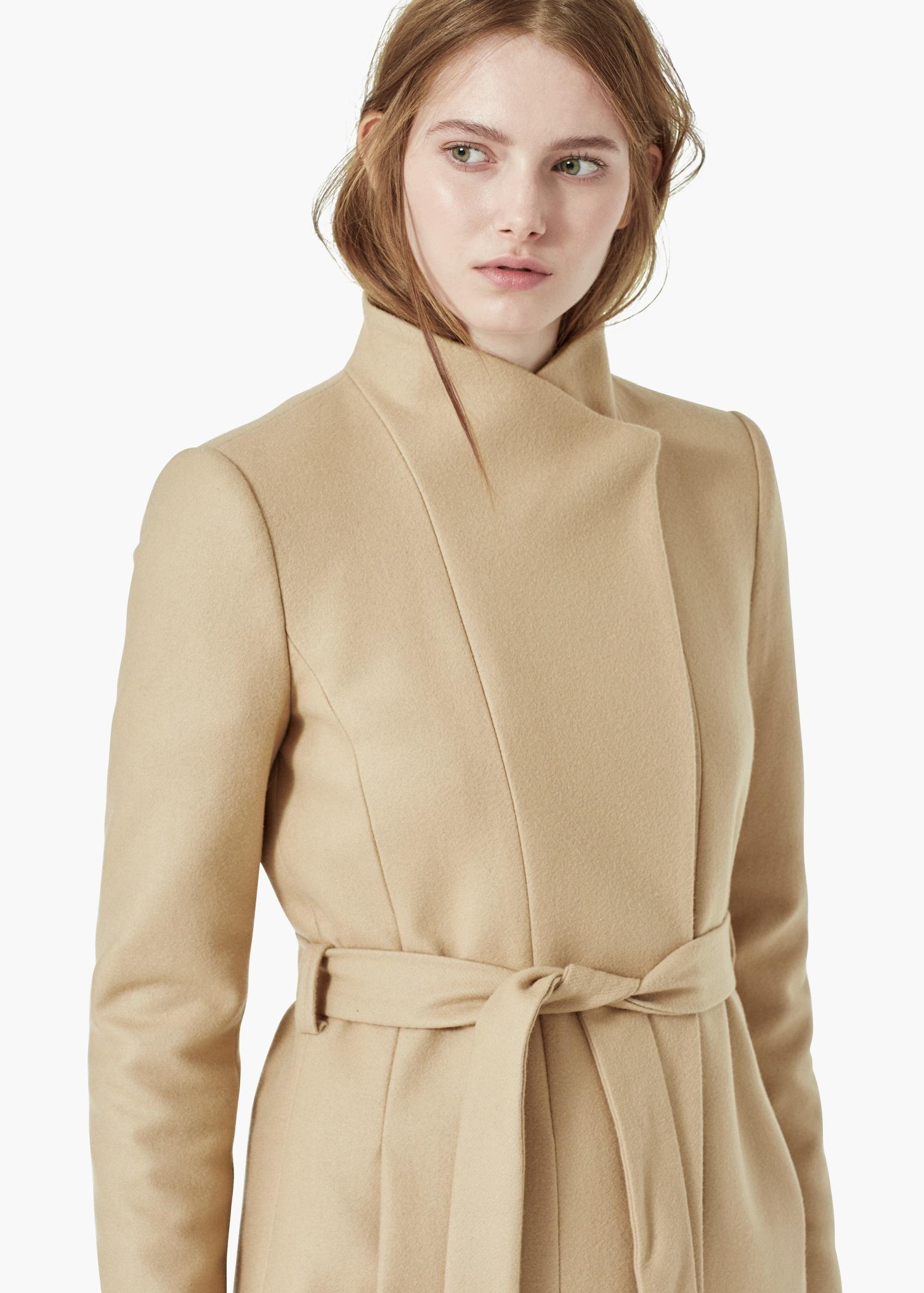 Mango Belt Wool Coat in Brown | Lyst