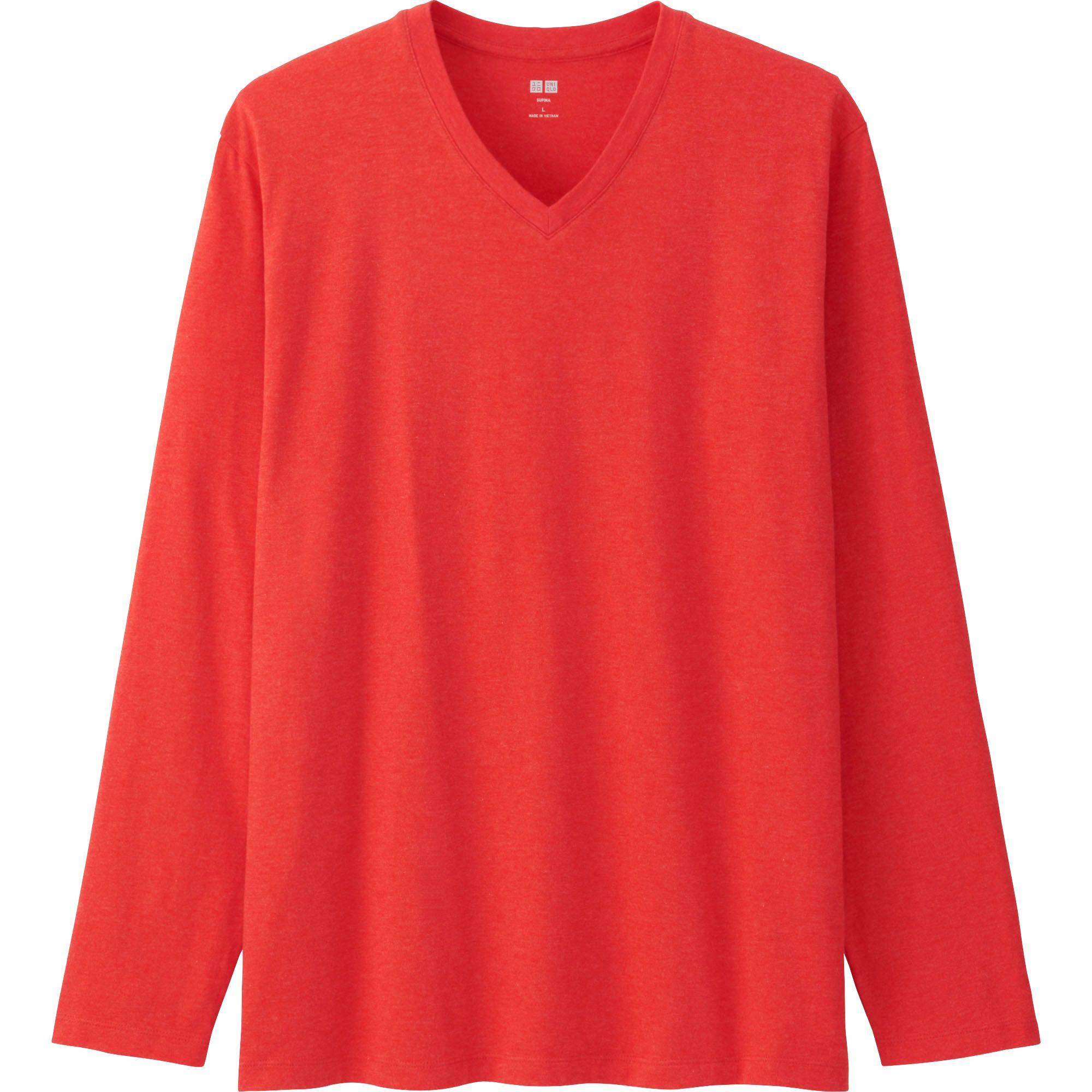 Uniqlo men supima cotton v neck long sleeve t shirt in red for Cotton long sleeve v neck t shirts