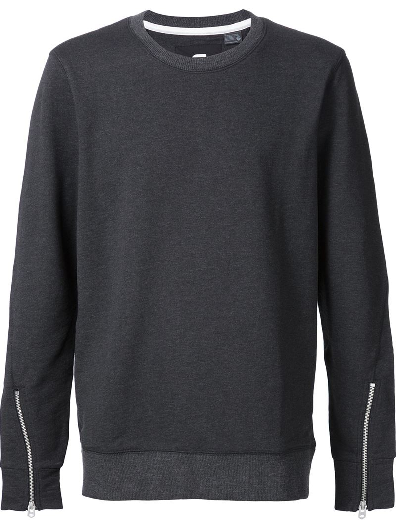 star raw sleeve zip sweater in gray for men grey lyst. Black Bedroom Furniture Sets. Home Design Ideas