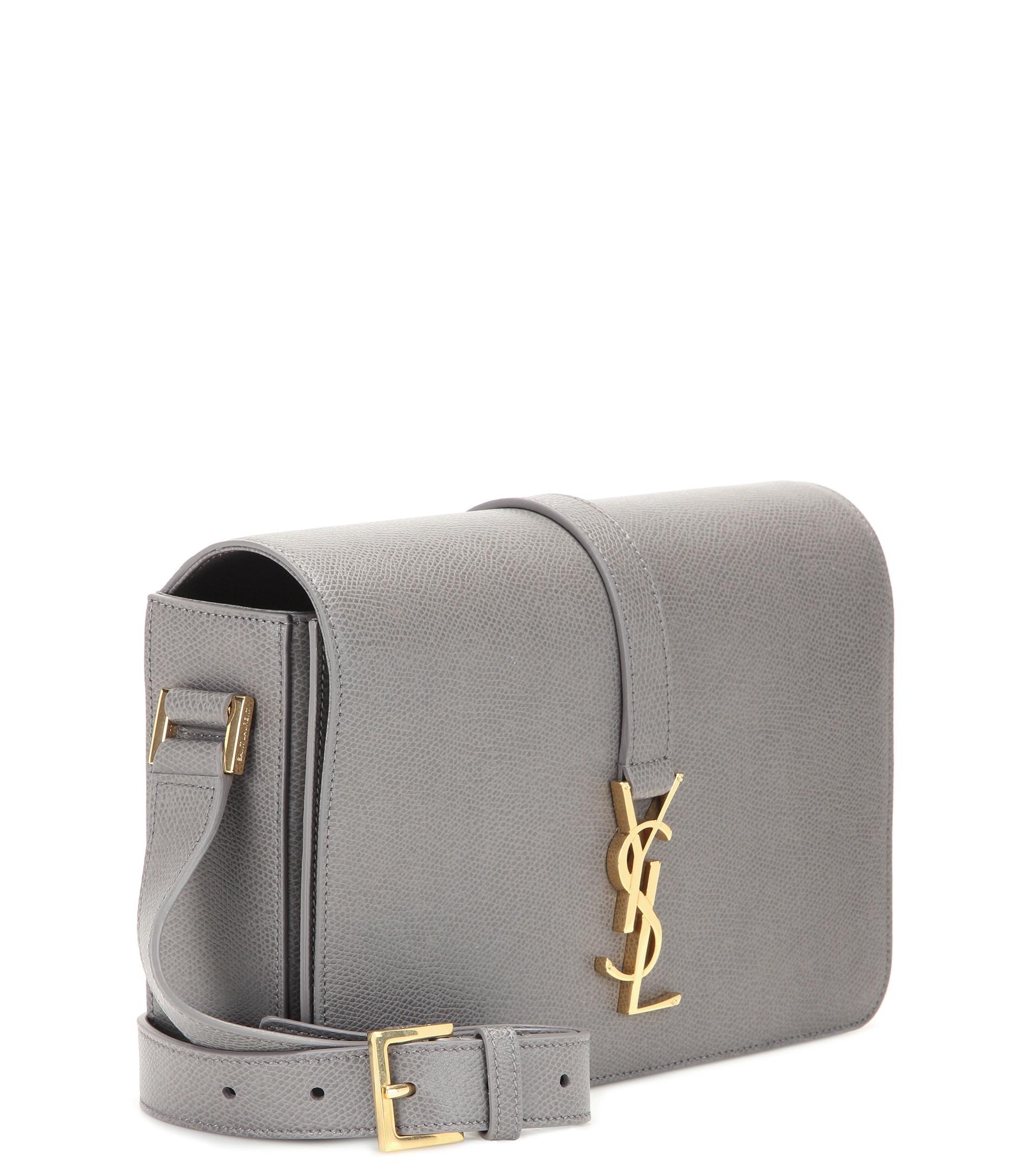 Lyst - Saint Laurent Monogram Université Medium Leather Bag in Gray 8128b3fb37739