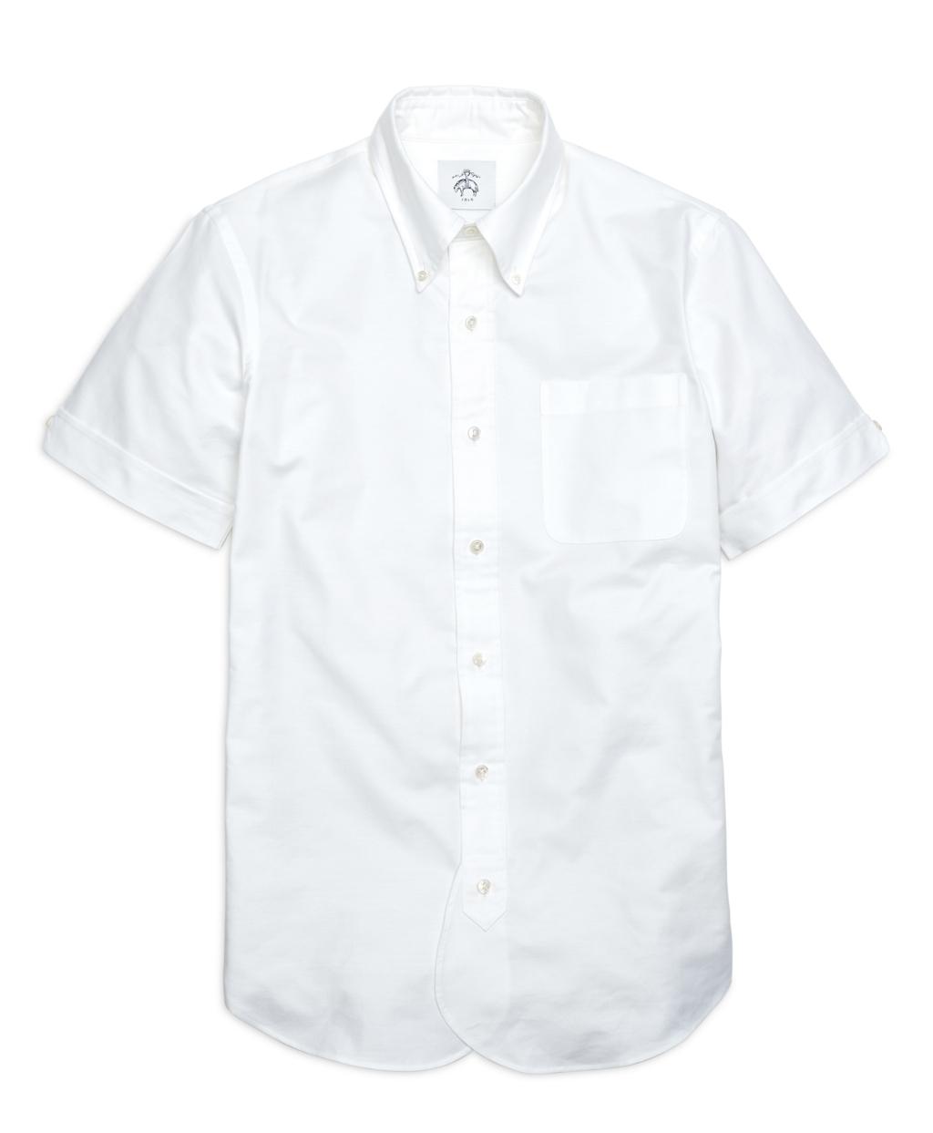 Brooks brothers stripe back short sleeve button down shirt for White short sleeve button down shirts for men